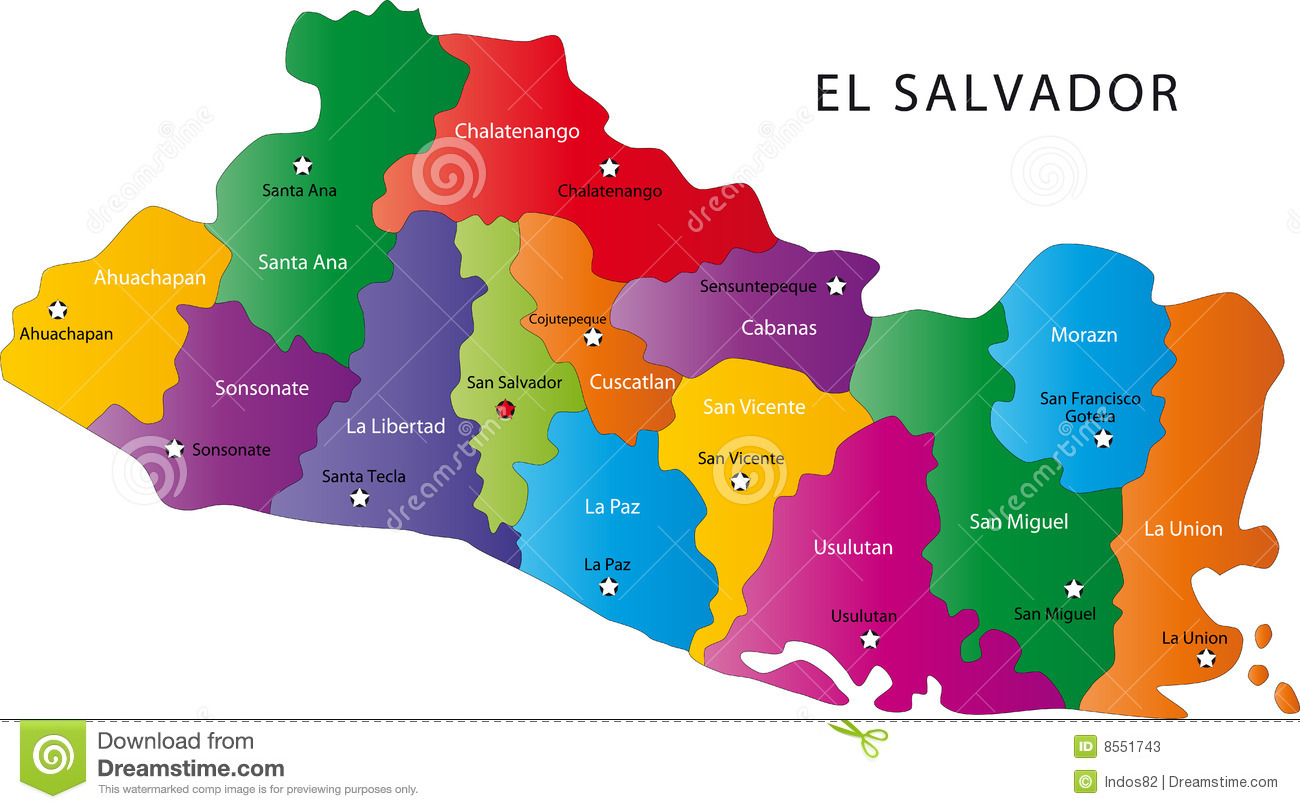 El Salvador map stock vector. Illustration of concept - 8551743 on