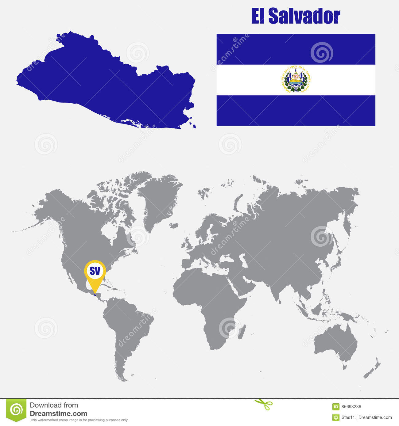 El salvador map on a world map with flag and map pointer vector el salvador map on a world map with flag and map pointer vector illustration gumiabroncs Choice Image