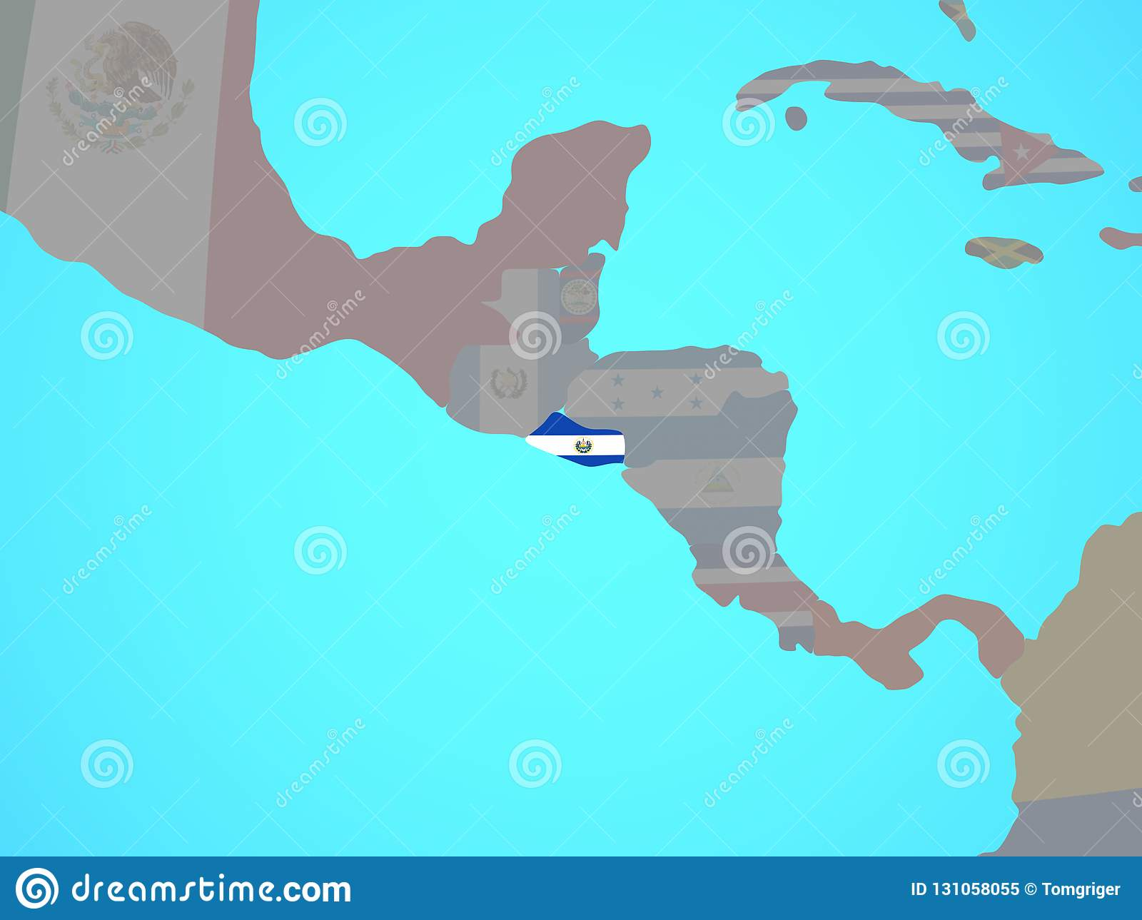 El Salvador With Flag On Map Stock Illustration ... on uruguay map, bage map, lima map, brazil map, nicaragua map, kusti map, the landing map, buenos aires map, costa rica map, taiohae map, sert map, mexico map, honduras map, peruana map, central america map, santiago map, passo fundo map, caracas map, south america map, world map,