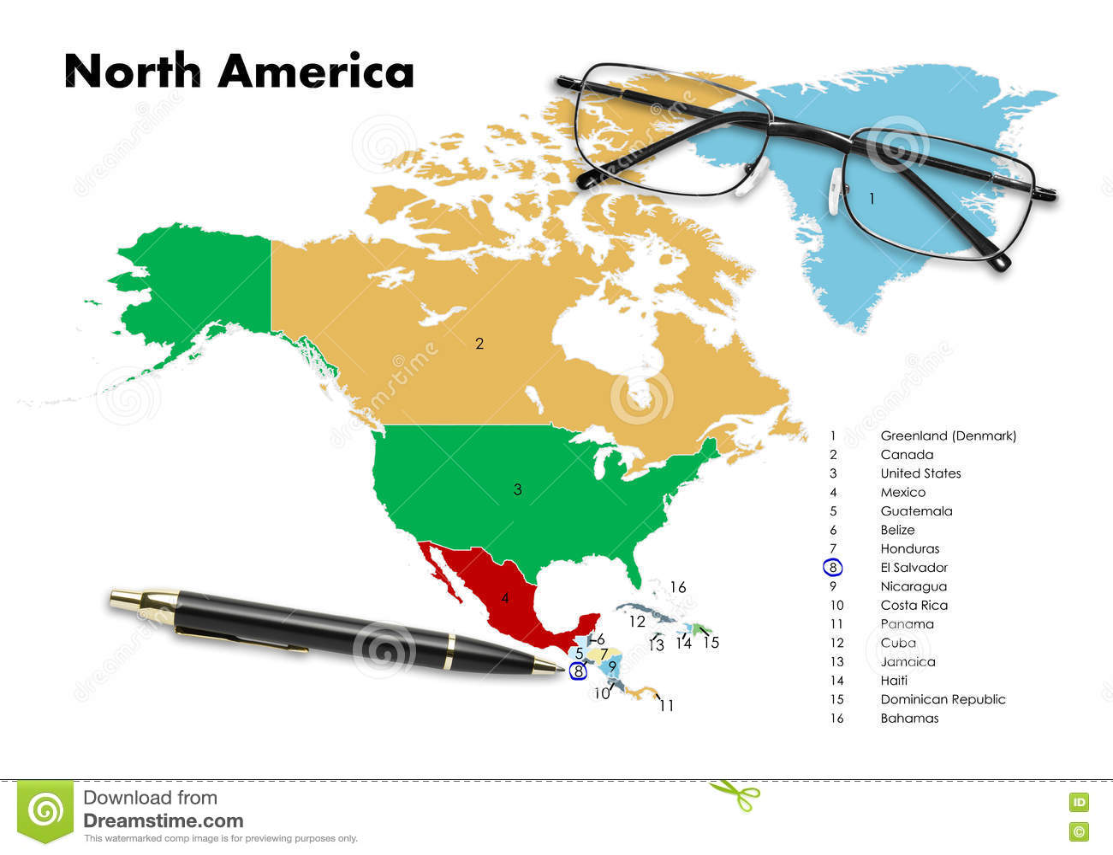 El Salvador On North America Map Stock Image Image - North america map el salvador