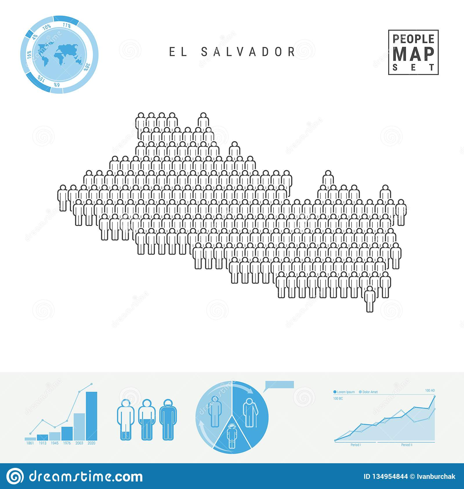 El Salvador People Icon Map. Stylized Vector Silhouette Of ...