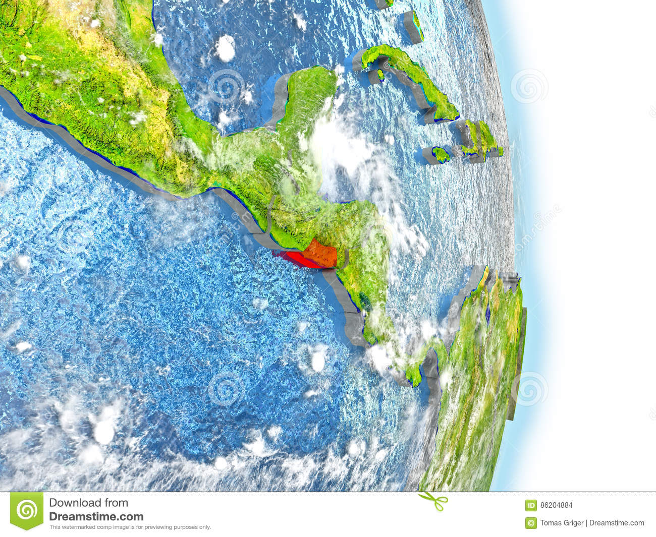 El Salvador In Red On Earth Stock Illustration Image - El salvador earth map