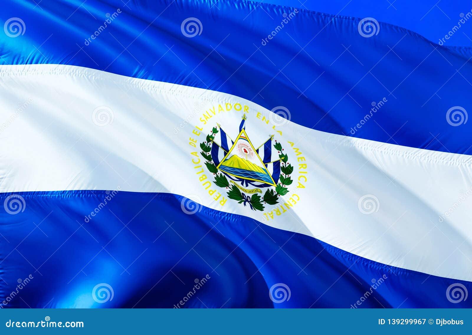El Salvador sjunker vinkande design för flagga 3D Det nationella symbolet av El Salvador, tolkning 3D Nationella färger och natio