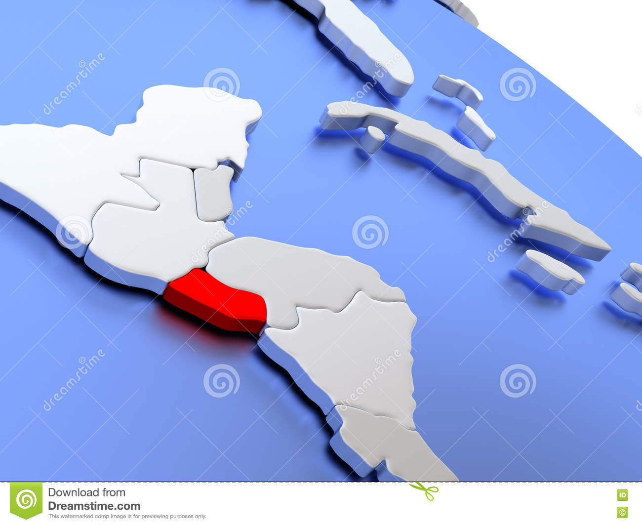 El Salvador on world map stock illustration Image of republic