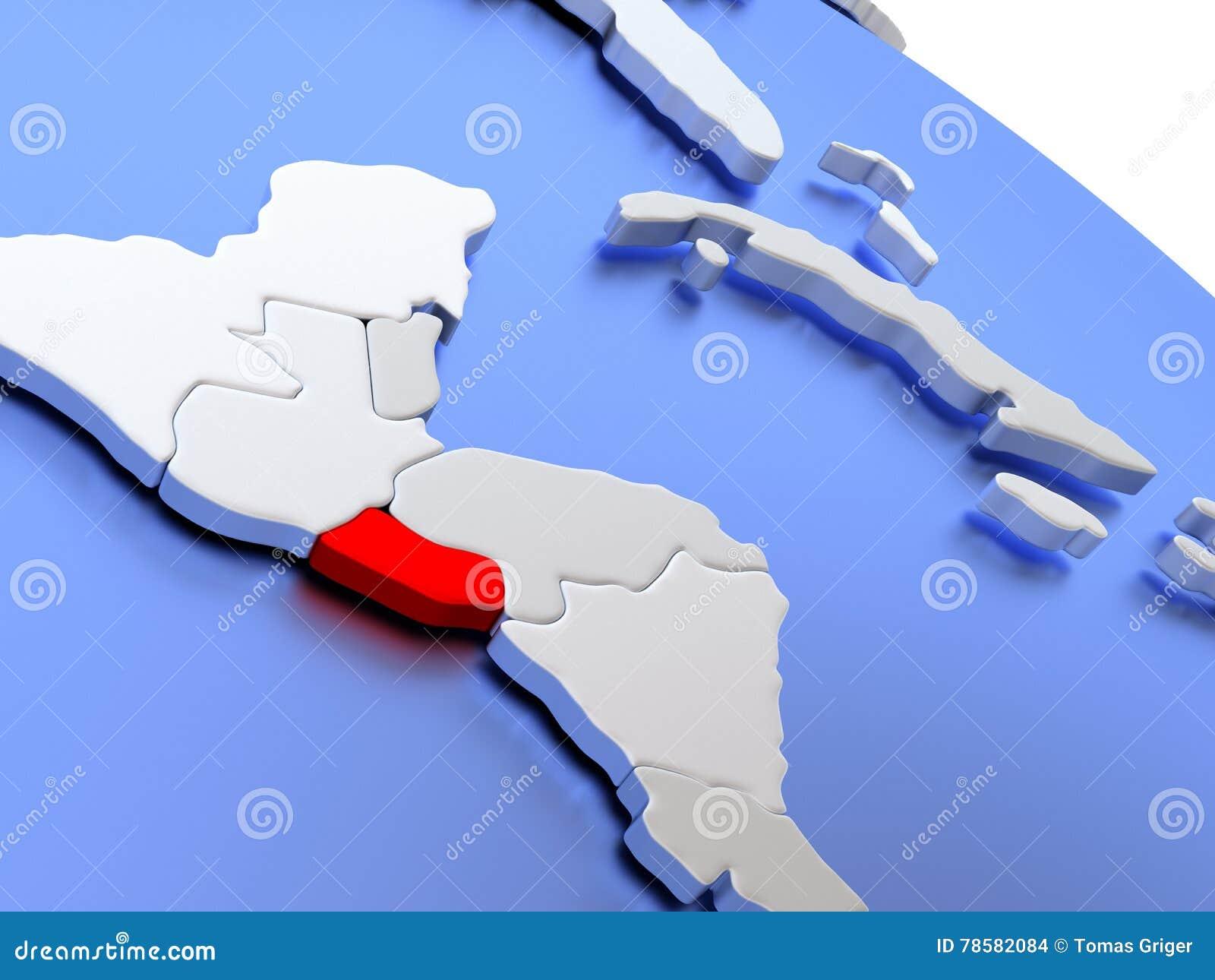 El Salvador On World Map Stock Illustration Image 78582084