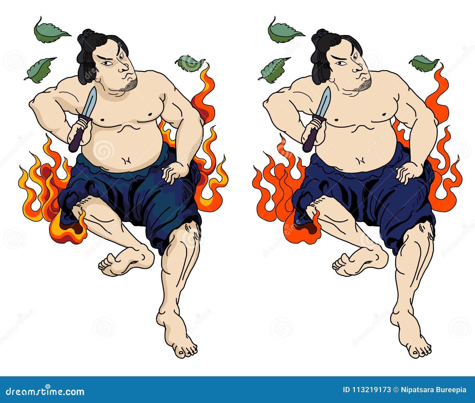 El Samurai Japones Con La Hoja Y El Dragon Tatuan El Cuerpo Completo