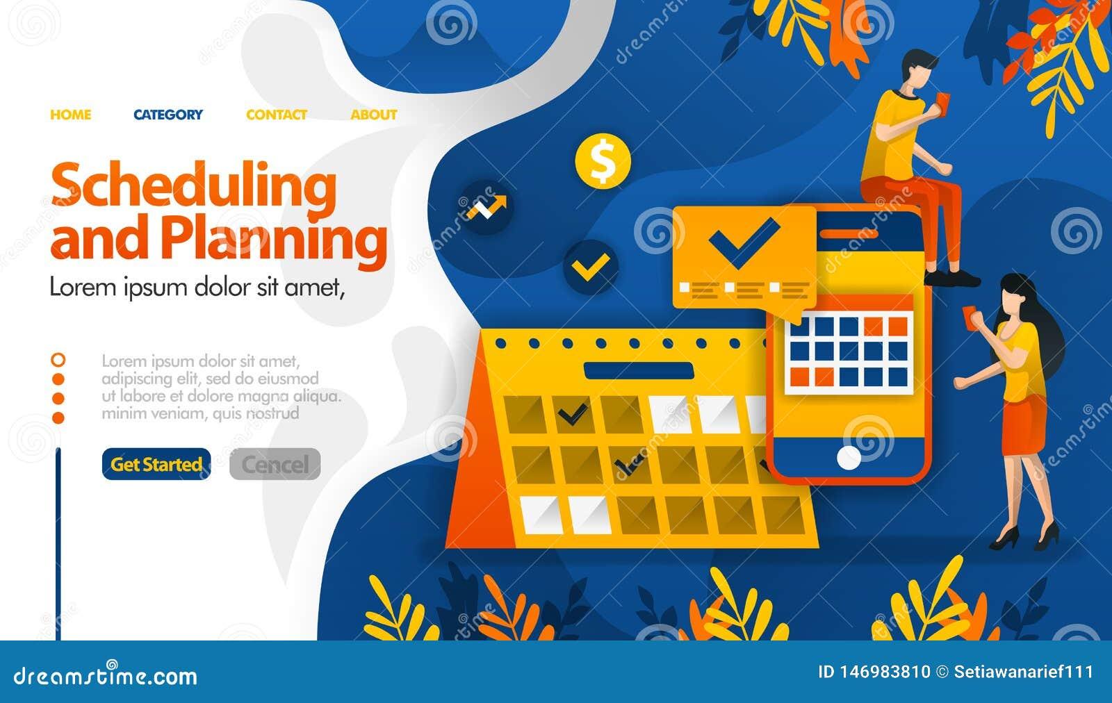 El Scheduling y los apps de planificación, viajes de planificación, determinando reuniones y concepto del ejemplo del vector de l