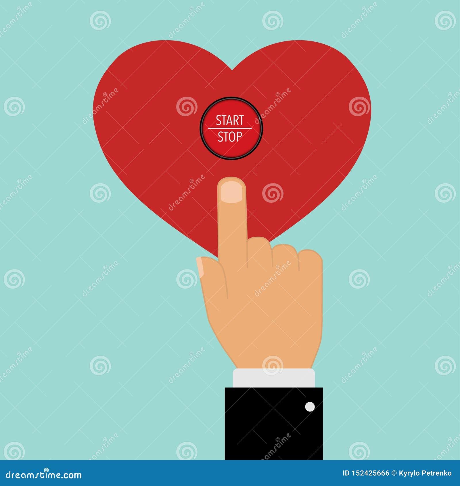 El señalar con un botón del corazón de la parada de comienzo del finger