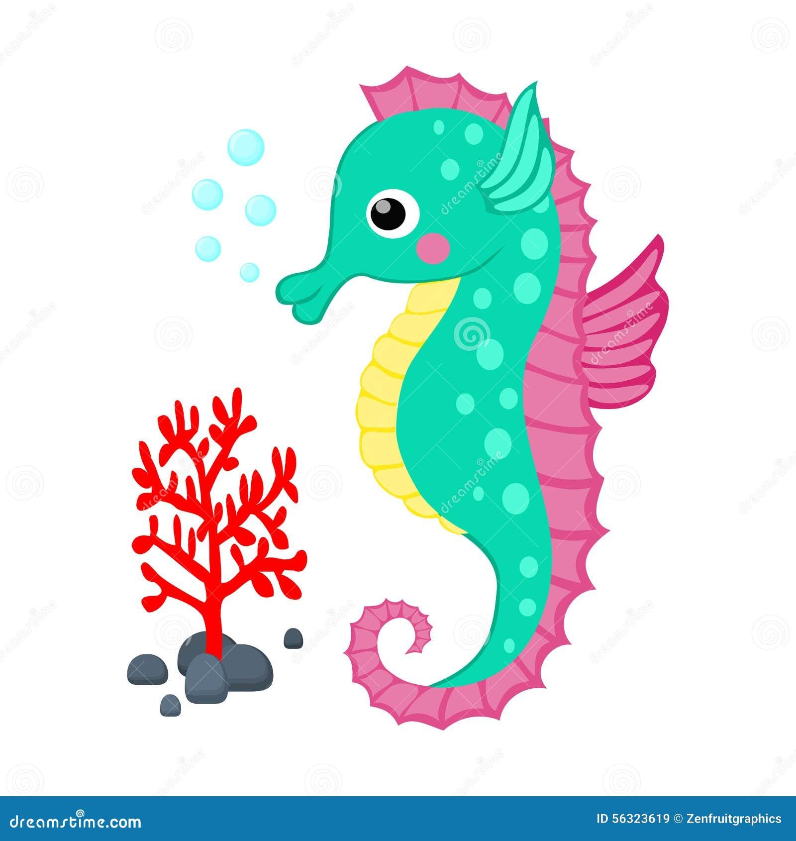 El seahorse lindo de la historieta y la rama del coral rojo vector el vector tropical g de las criaturas del mar de la historieta