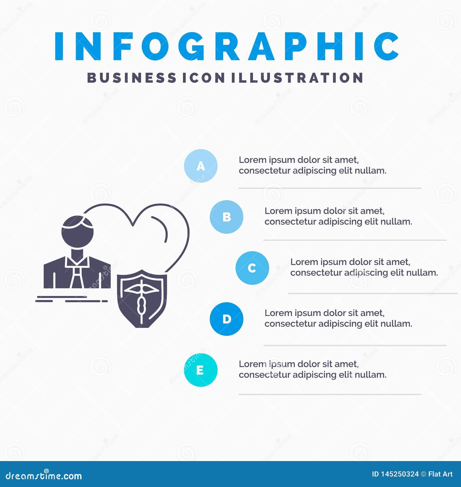 El seguro, familia, hogar, protege, plantilla de Infographics del corazón para la página web y presentación Icono gris del GLyph