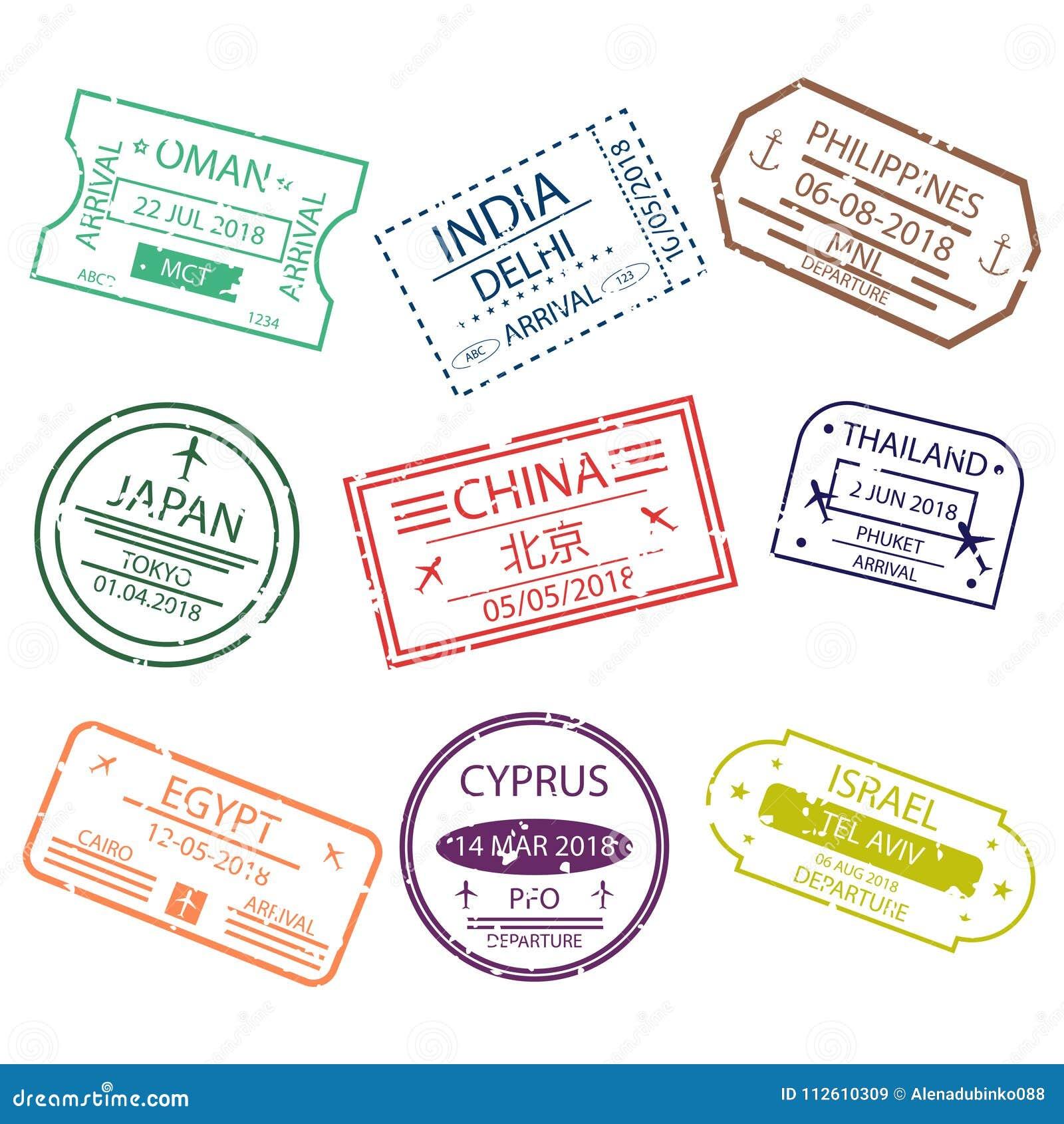 El sello o la visa del pasaporte firma para la entrada a los países diferentes Asia Símbolos del aeropuerto internacional