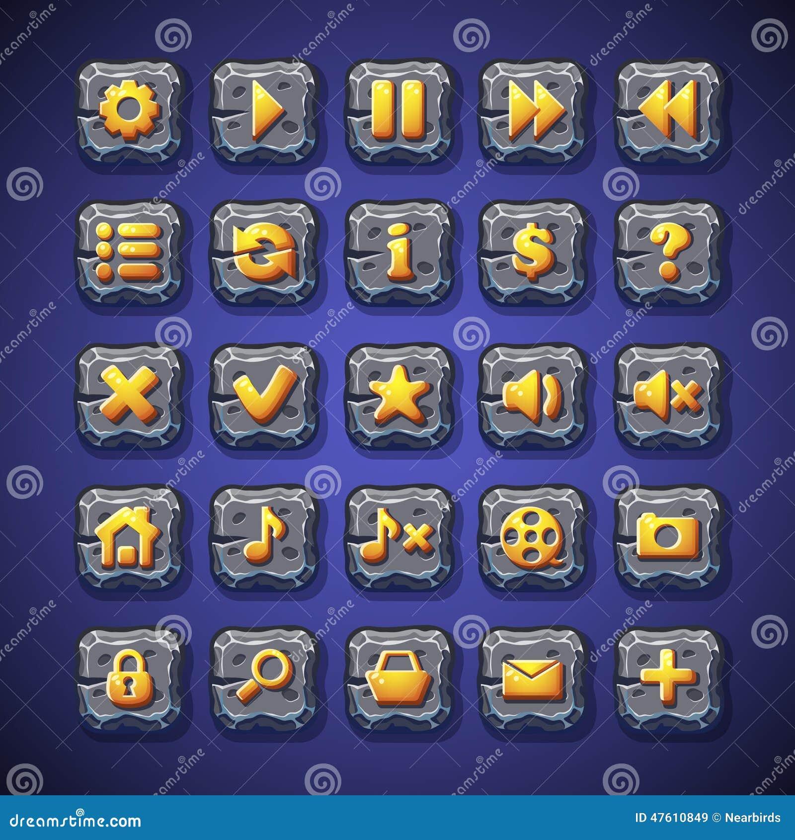 El sistema de botones se detiene brevemente, juega, se dirige, busca, carro de la compra para el uso en la interfaz de usuario de