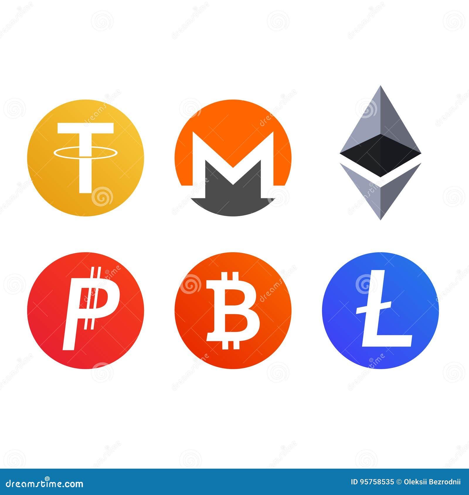 El sistema de cryptocurrency acuña símbolos de los iconos