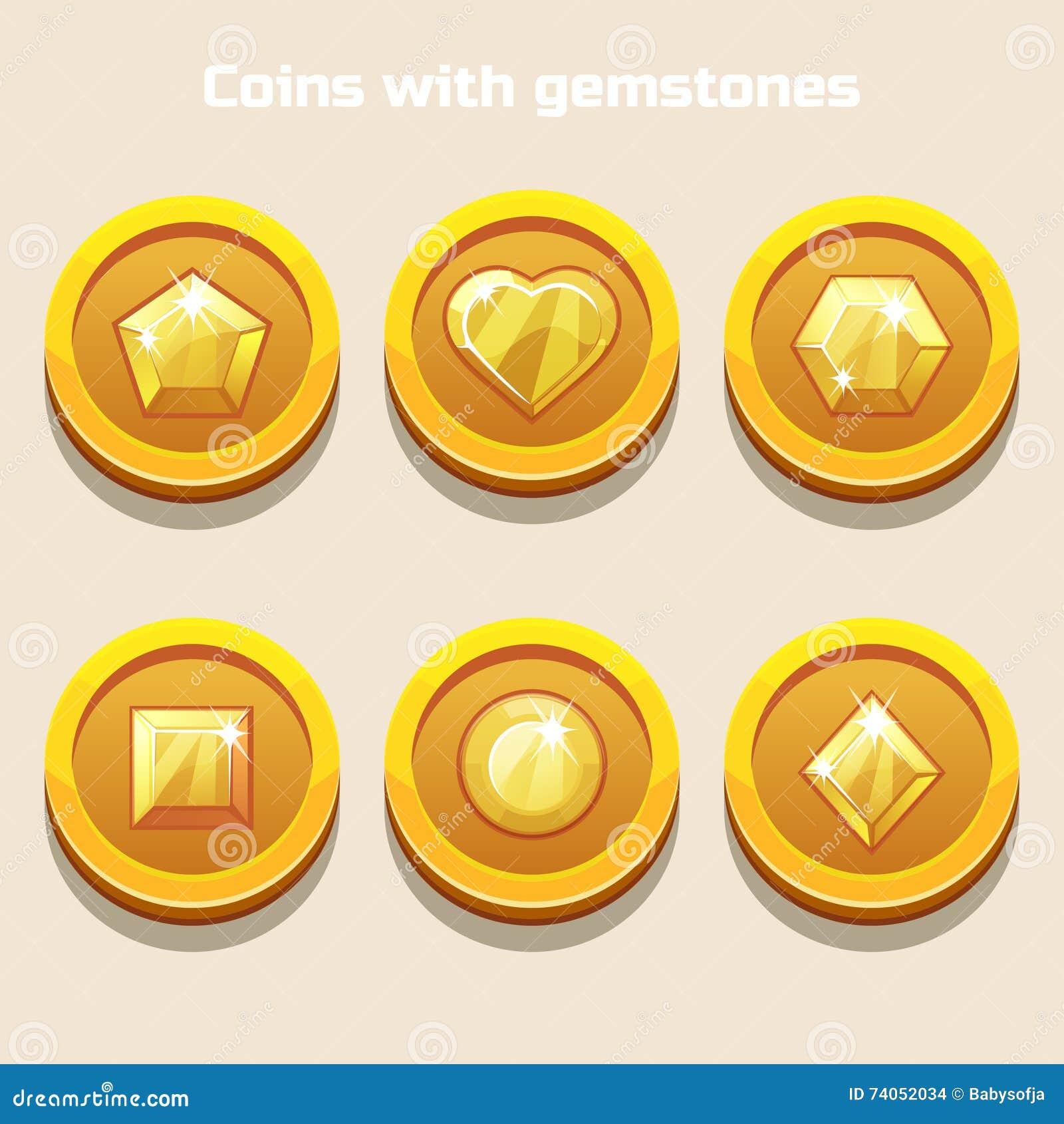 El sistema de diversa historieta acuña con las piedras preciosas dentro, para el juego del web o el interfaz del uso