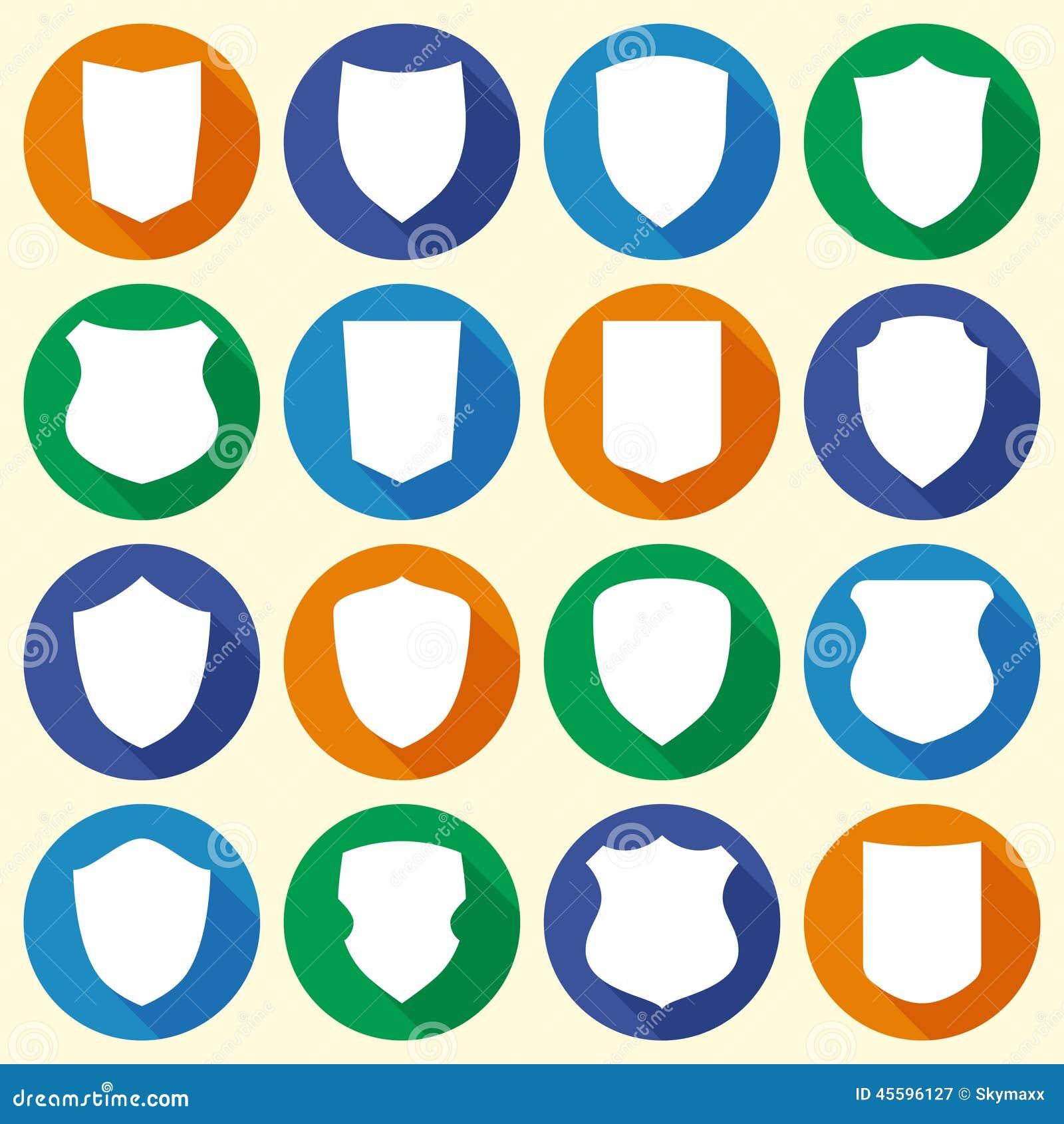 El sistema de diverso escudo forma iconos