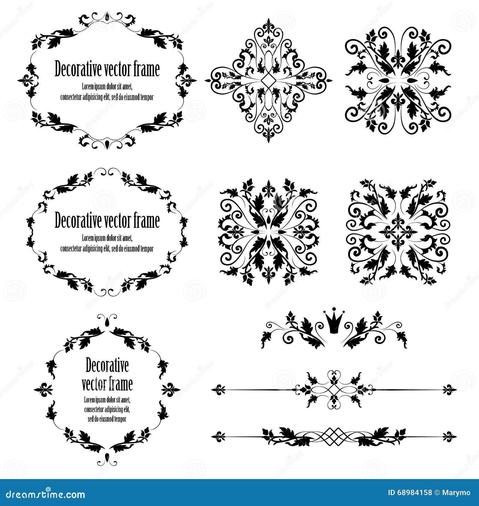 El sistema de elementos del diseño floral, vintage ornamental se opone