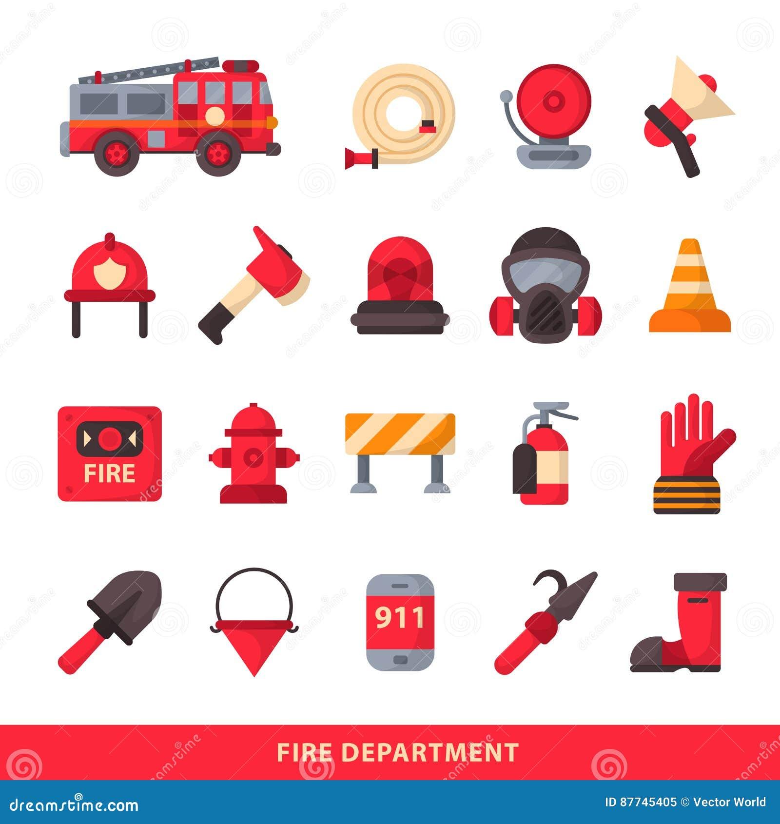 El sistema de elementos diseñados del bombero coloreó iconos de la emergencia del cuerpo de bomberos y al bombero del equipo del