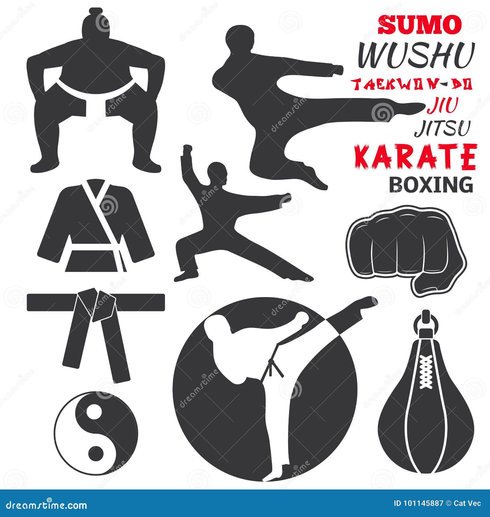 El sistema de etiquetas frescas de los emblemas del club que luchan lucha el ejemplo del vector del karate del puño del deporte d