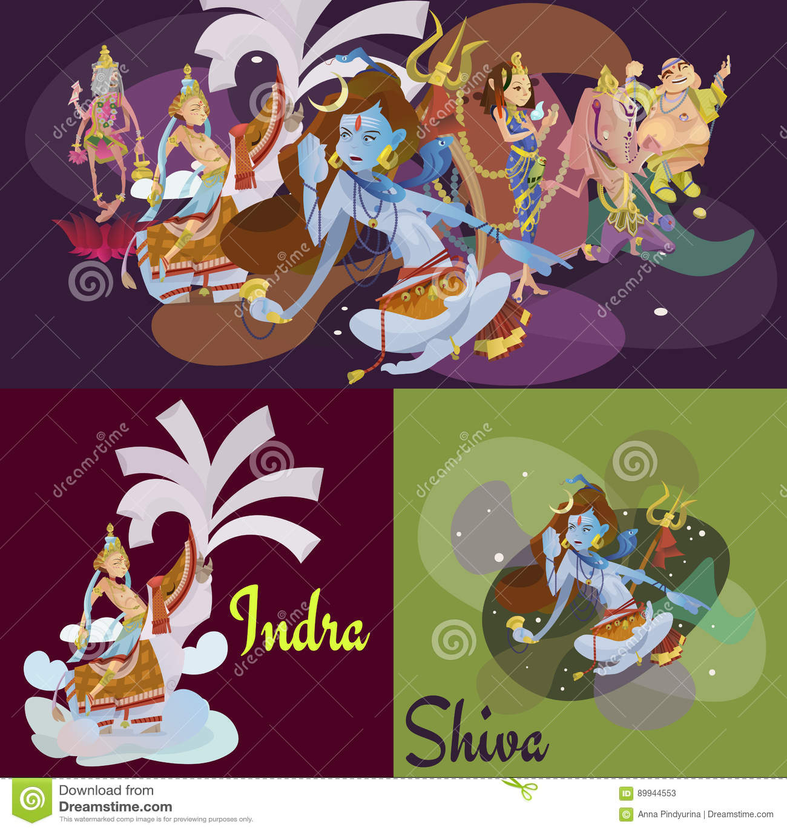 El sistema de la meditación hindú aislada de dioses en yoga plantea la religión del loto y del hinduism de la diosa, cultura asiá