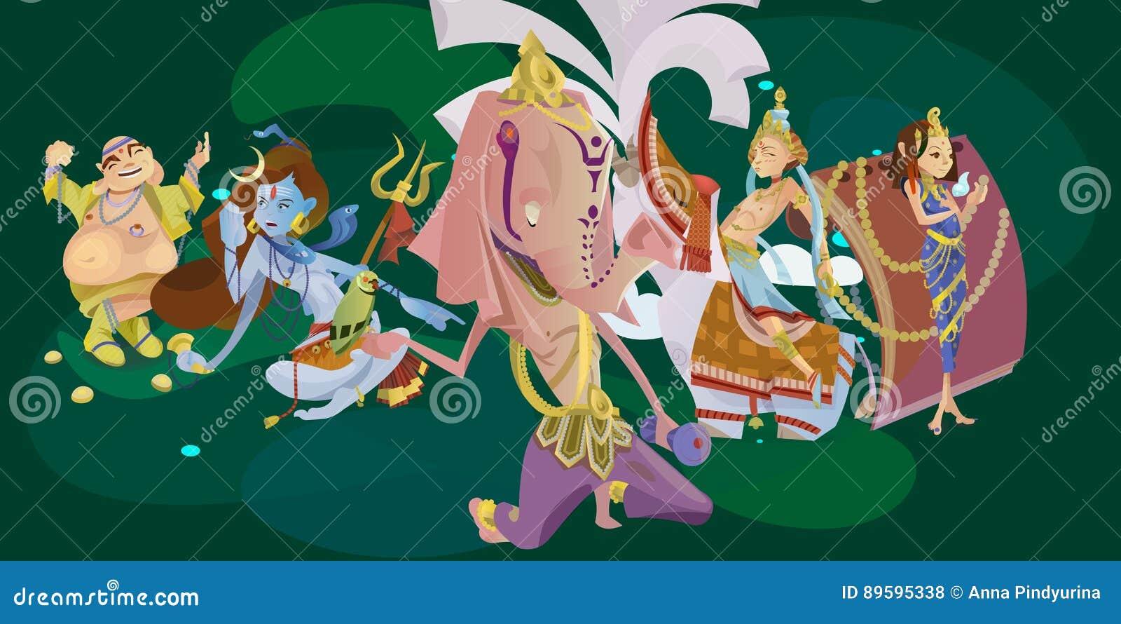 El sistema de la meditación hindú de dioses en yoga plantea la religión del loto y del hinduism de la diosa, cultura asiática tra