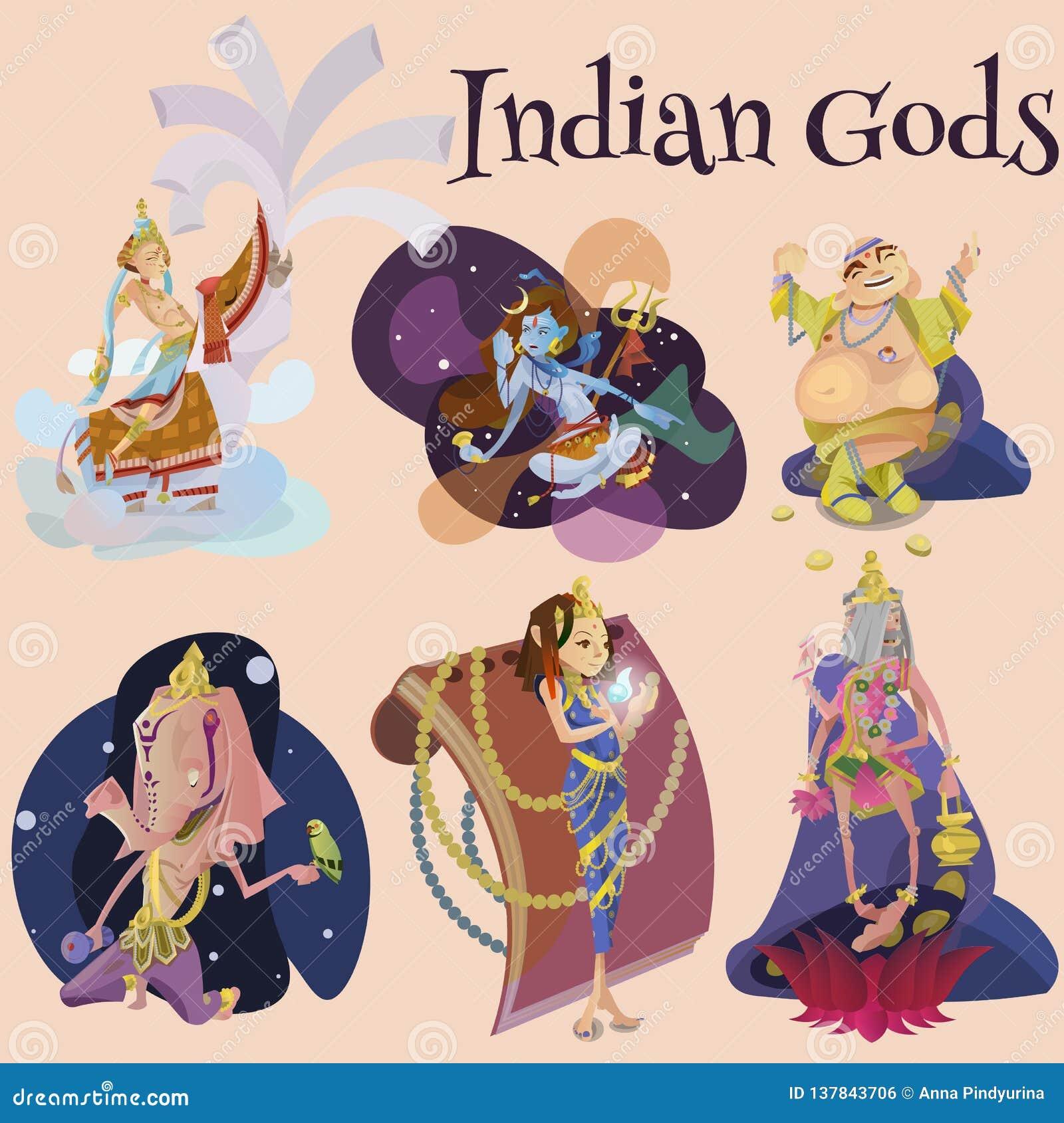 El sistema de la meditación india aislada de dioses en yoga plantea la religión del loto y del hinduism de la diosa, cultura asiá