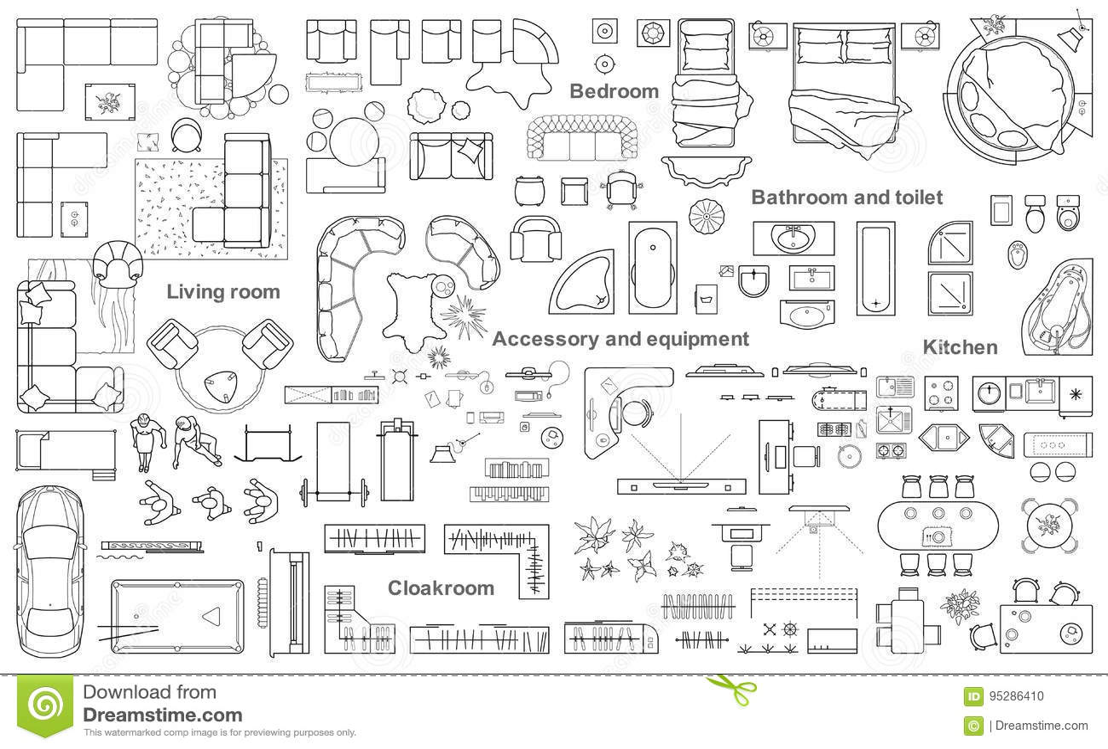 El sistema de la opinión superior de los muebles para los apartamentos planea La disposición del diseño del apartamento, dibujo t