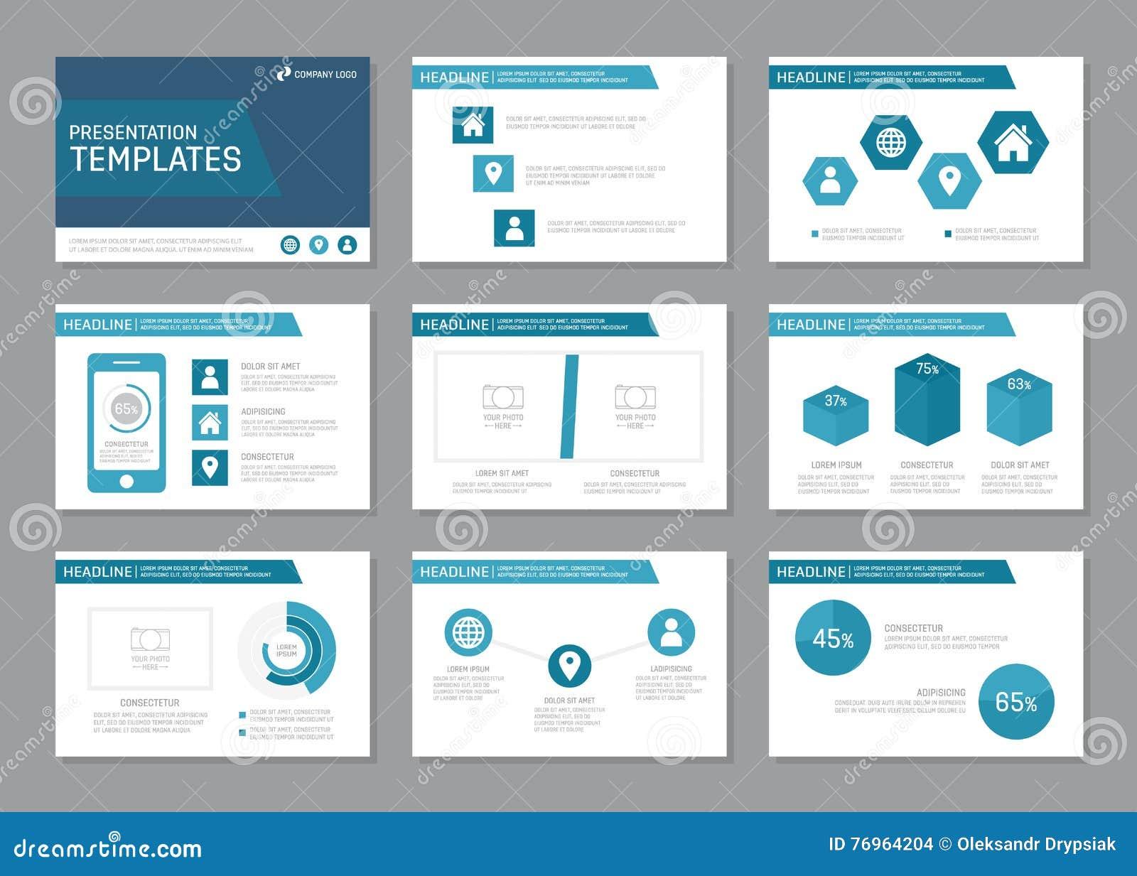 El sistema de la plantilla azul para la presentación multiusos resbala, los elementos infographic Prospecto, informe anual, cubie