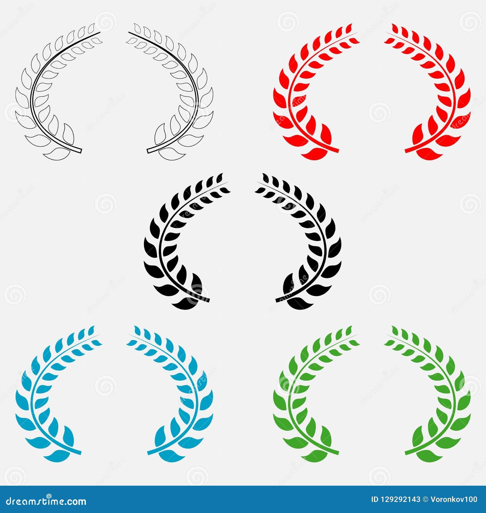 El sistema de laurel coloreado se va en fondo aislado blanco Elementos del vector para su diseño