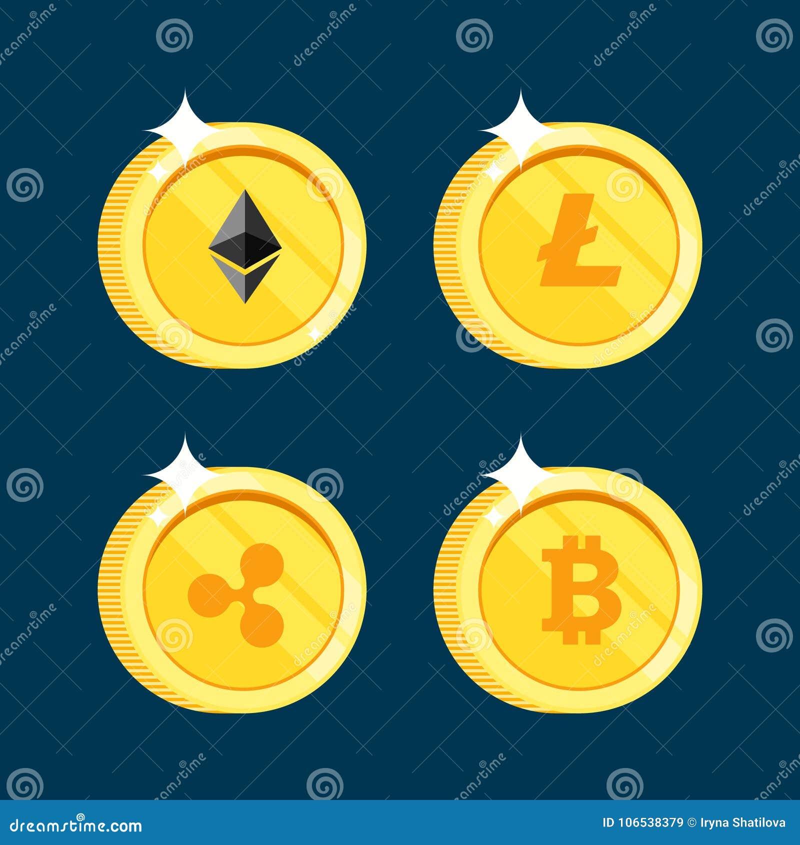 El sistema de los iconos Litecoin, ondulación, Ethereum, bitcoin acuña en el fondo negro aislado