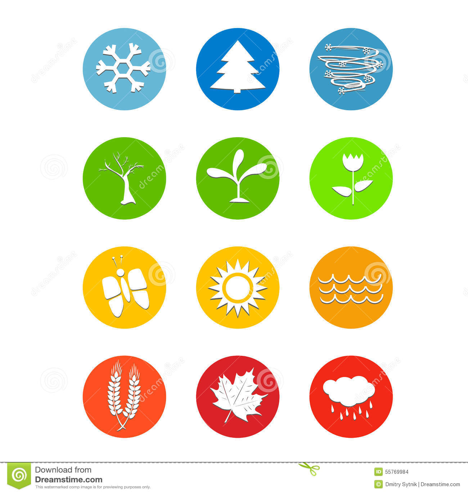 El sistema de 12 meses hace calendarios el tiempo de los iconos cuatro estaciones