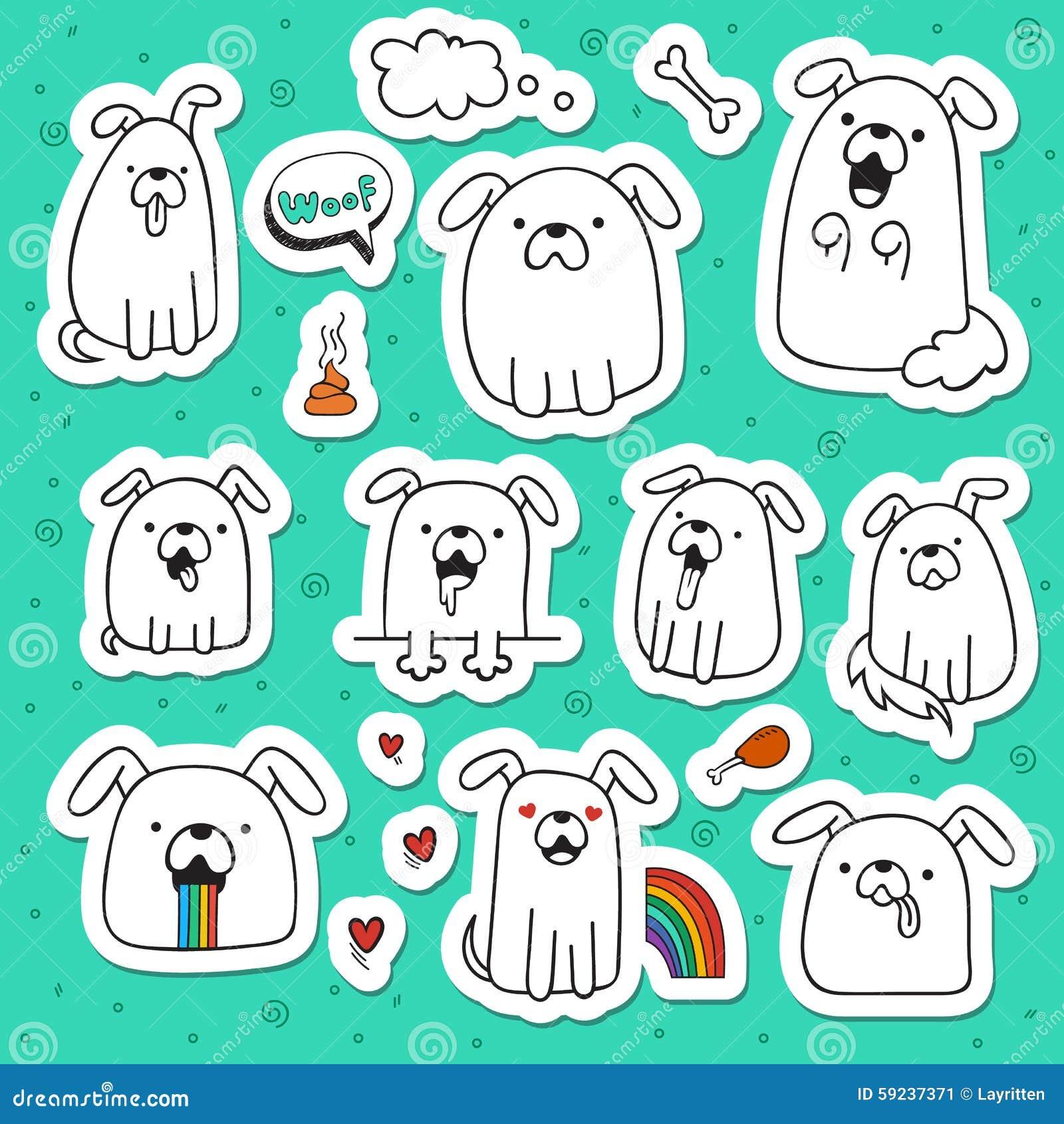 Download El Sistema De 10 Perros Garabatea Etiquetas Engomadas Hechas A Mano Perros Con Emociones Ilustración del Vector - Ilustración de hound, diversión: 59237371