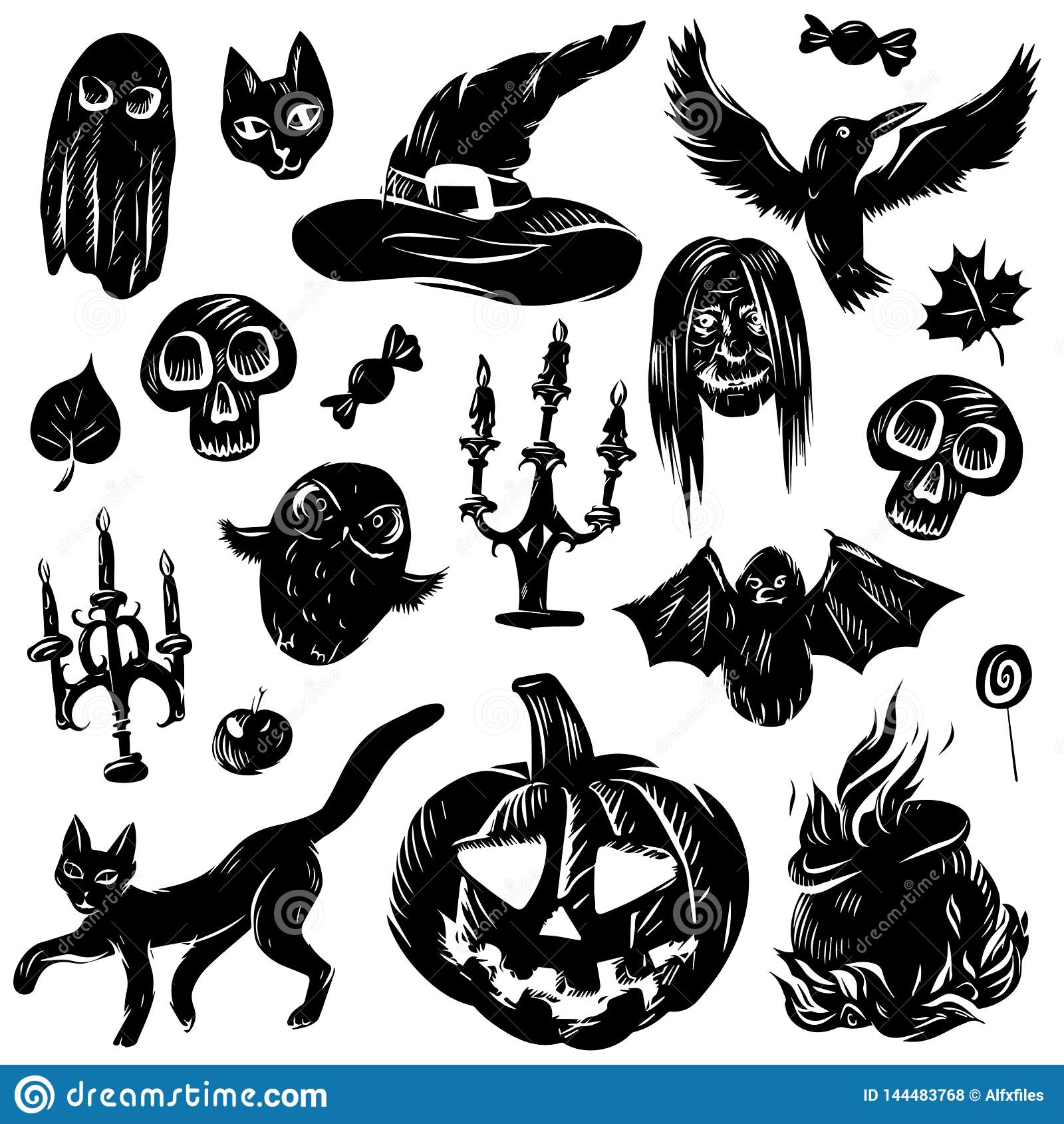 El sistema del ejemplo del vector de la historieta clasificó los accesorios gato negro, palo, fantasma, búho, calabaza, palmatori