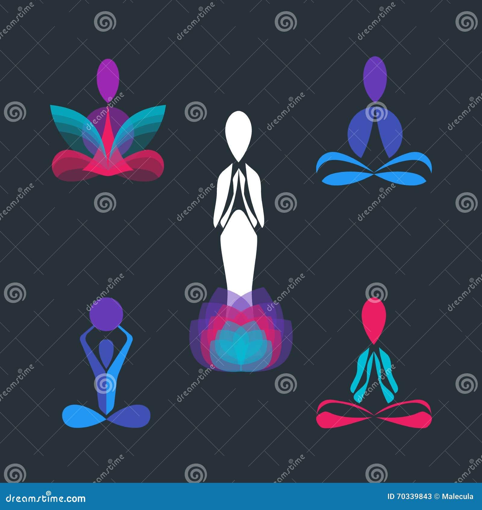 El Sistema Del Logotipo Del Vector De La Actitud De La Yoga Y El ...
