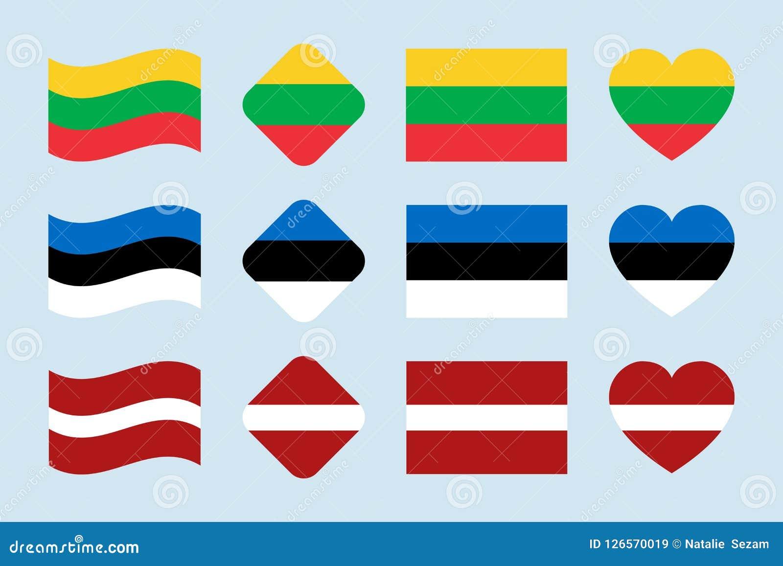 El sistema del vector de las banderas de Países Bálticos Colección de la bandera nacional de Lituania, Estonia, Letonia Iconos ai