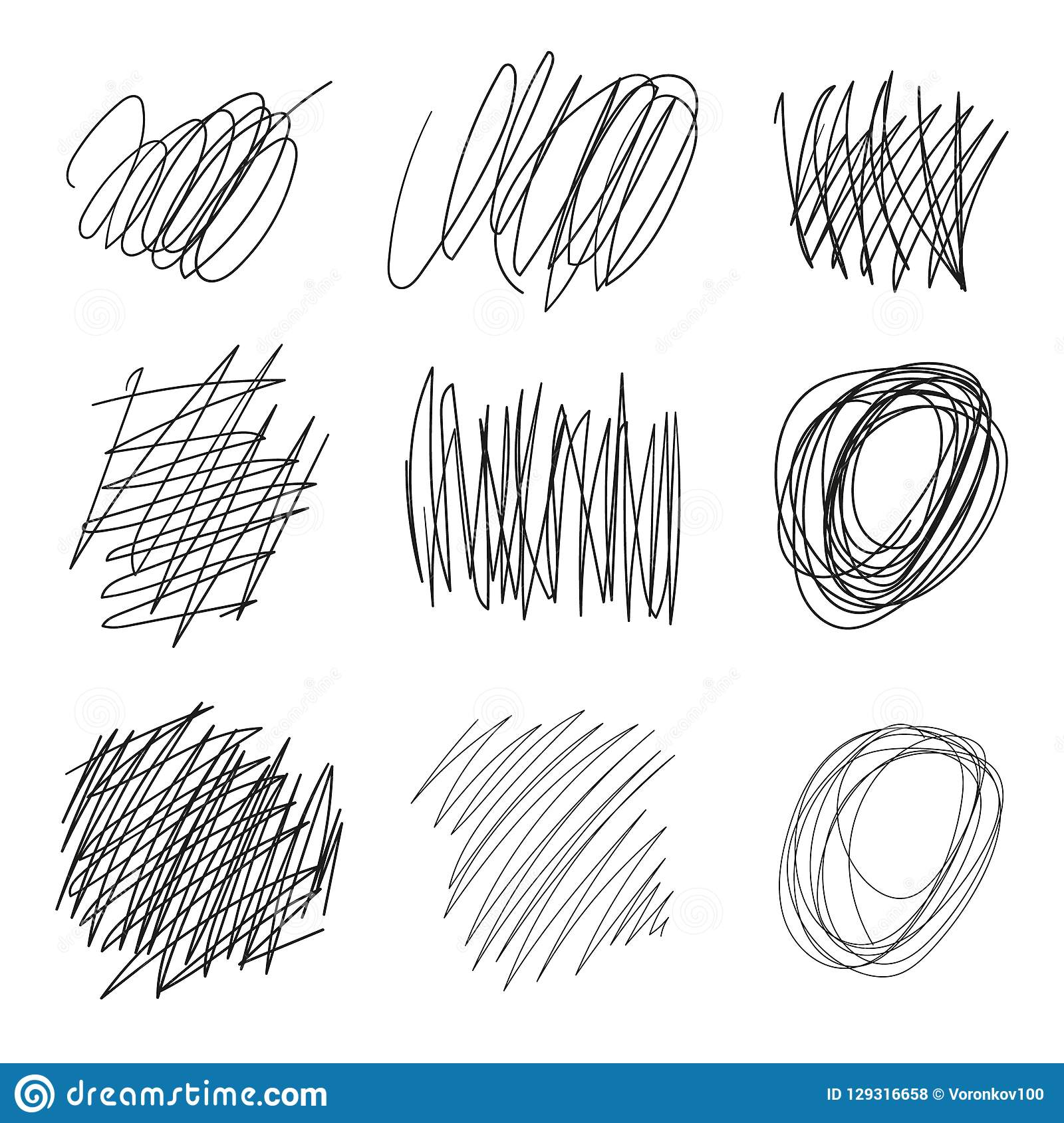 El sistema del vector dibujado enreda, las líneas, círculos, bosquejo del garabato de las elipses Línea negra forma del garabato
