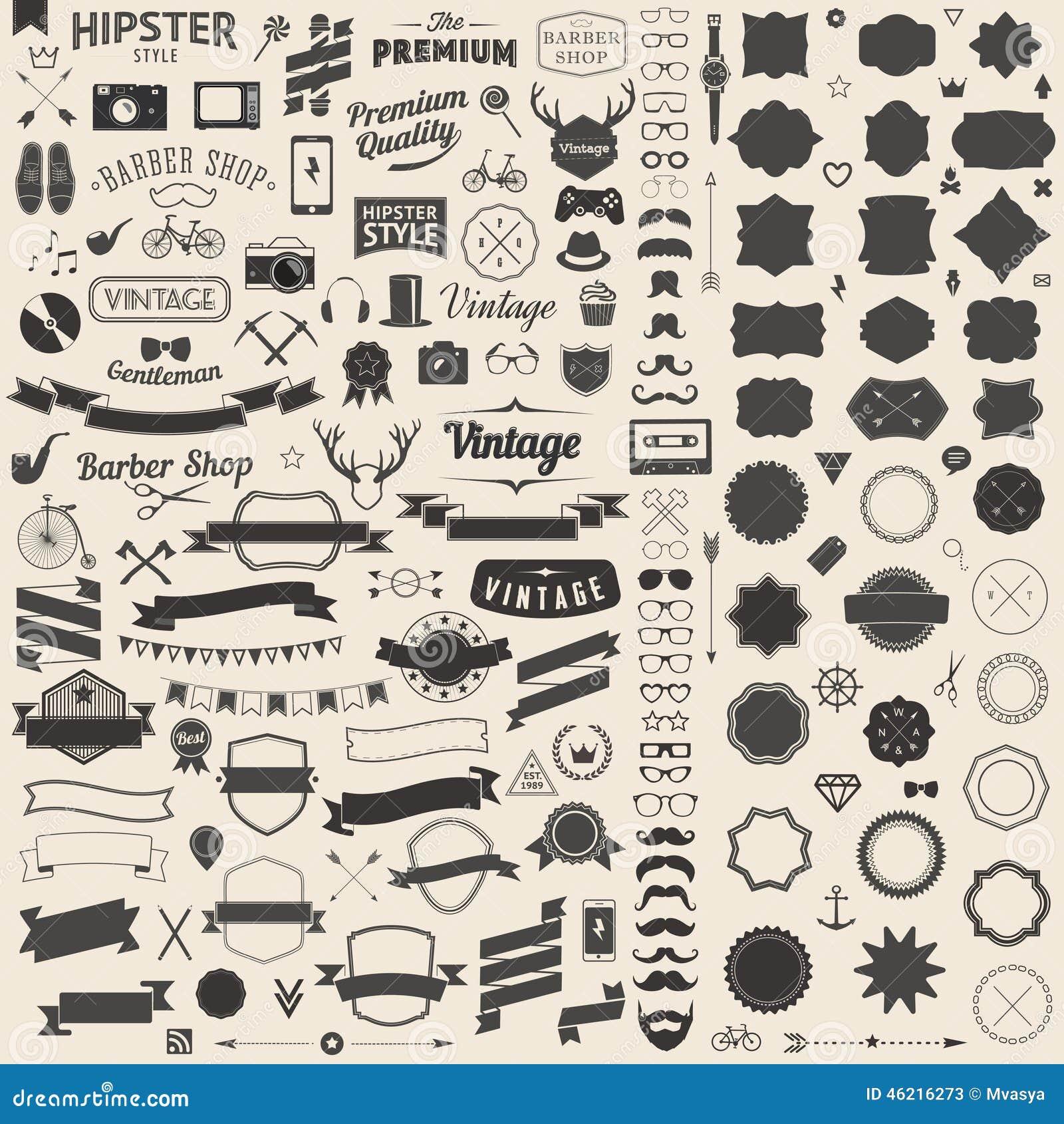 El sistema enorme de vintage diseñó iconos del inconformista del diseño Vector las muestras y las plantillas de los símbolos para