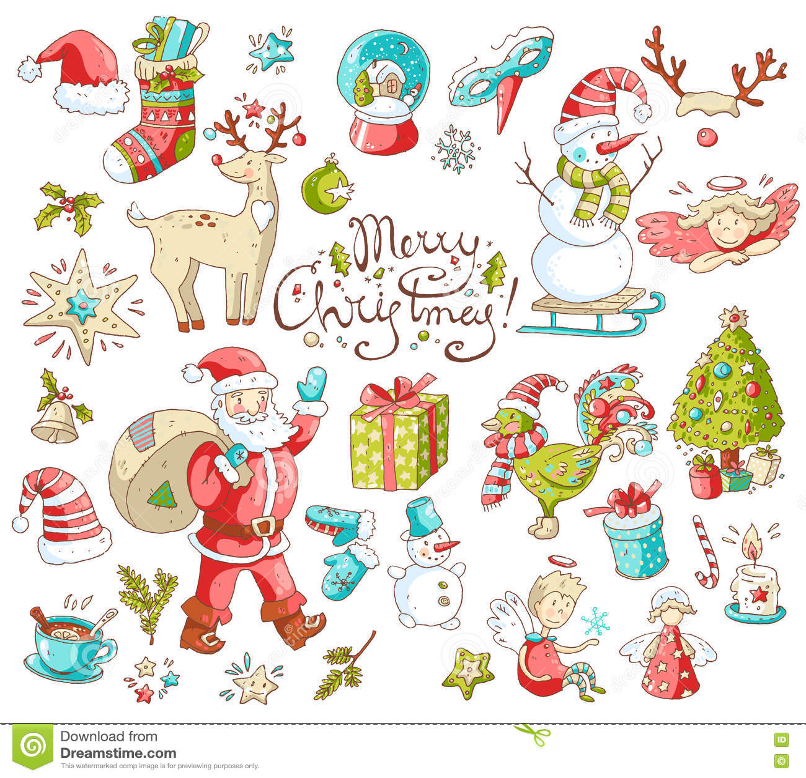 El sistema grande del vector de Año Nuevo y de la Navidad se opone símbolos