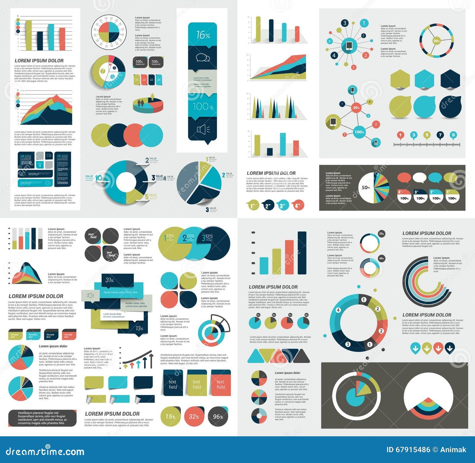 El sistema mega de las cartas de elementos del infographics, gráficos, cartas del círculo, diagramas, discurso burbujea Plano y d