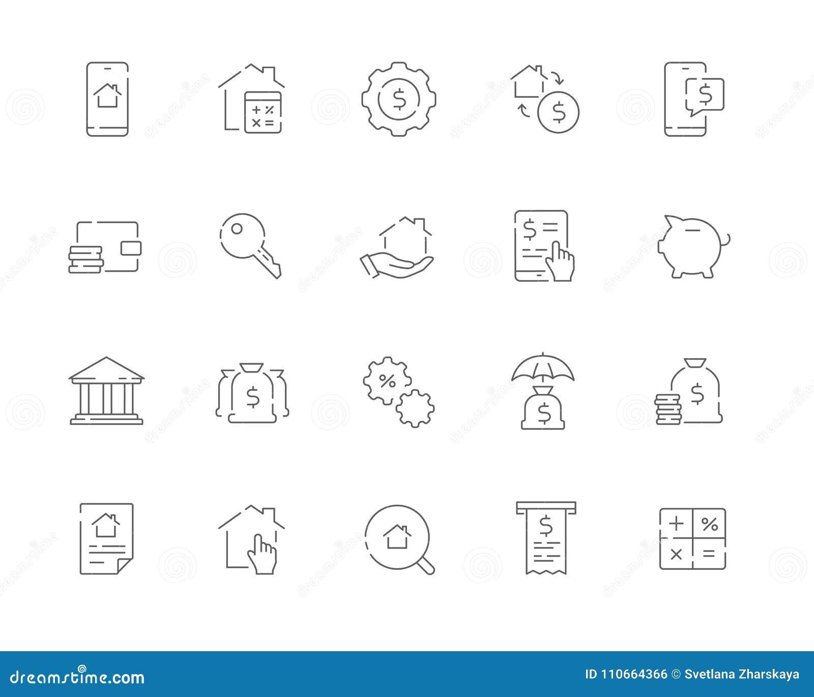 El sistema simple de la hipoteca relacionó la línea iconos del vector del web Contiene s