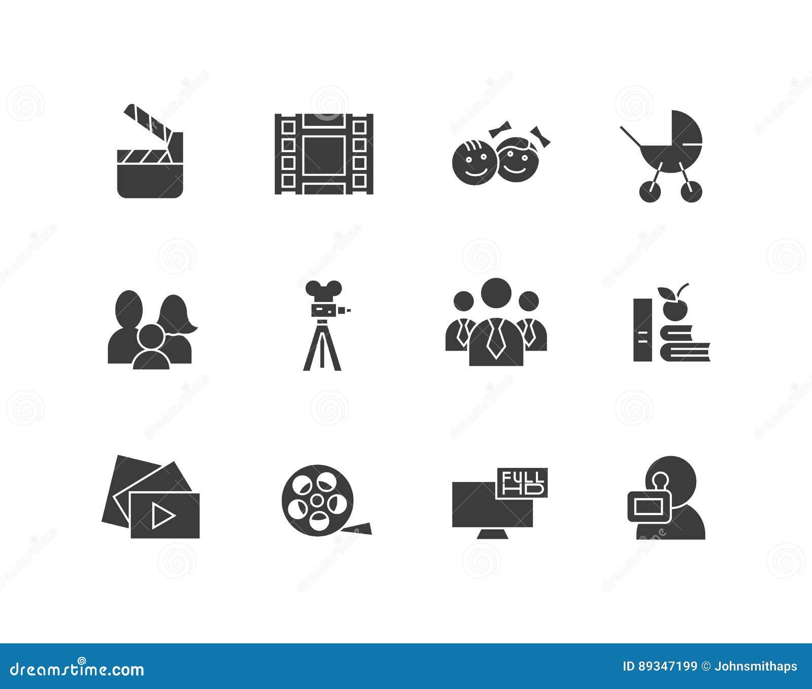 El sistema simple del cine relacionó iconos de la silueta del vector Contiene por ejemplo la cámara de película, TV, familia, niñ