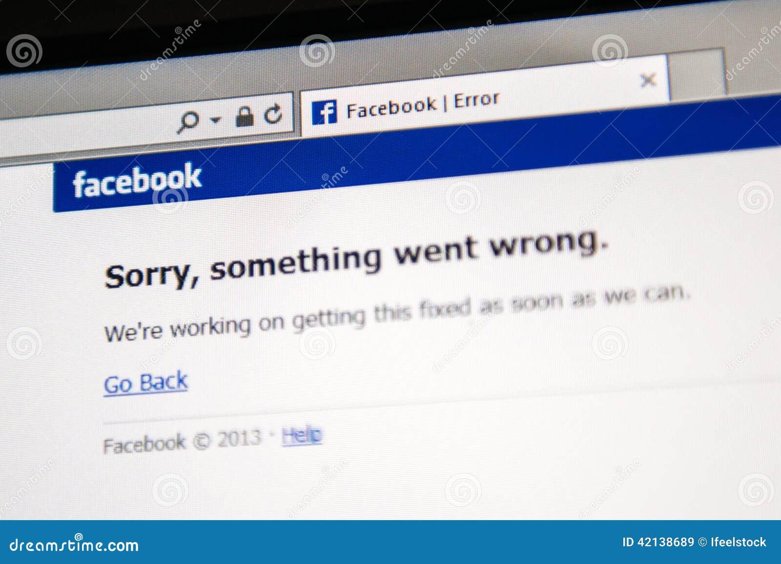 El sitio de Facebook está abajo