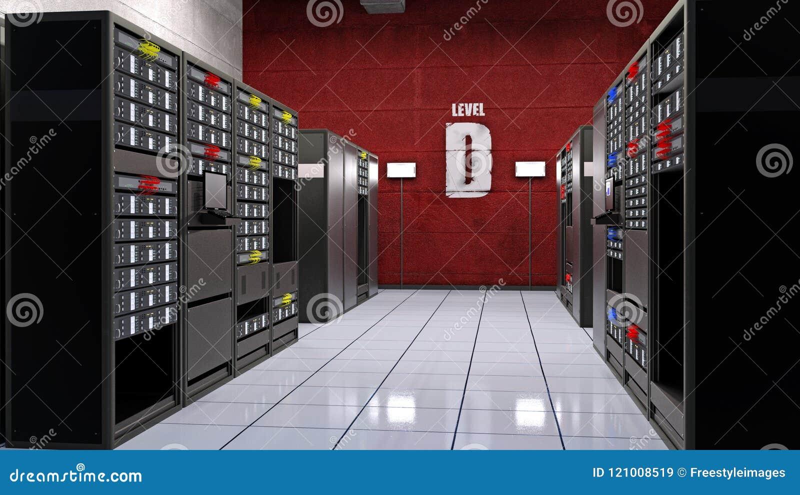 El sitio del servidor, centro de datos con los servidores del ordenador en estantes, almacenamiento de datos de la instalación in