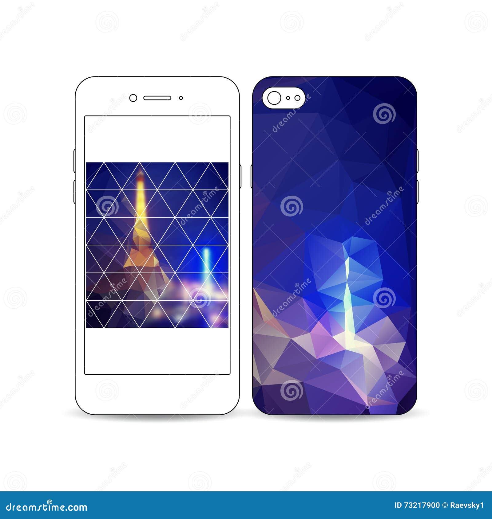 2499b231cb5 Smartphone móvil con un ejemplo del diseño de la pantalla y de la cubierta  aislado en el fondo blanco Fondo poligonal oscuro, imagen borrosa, paisaje  de la ...