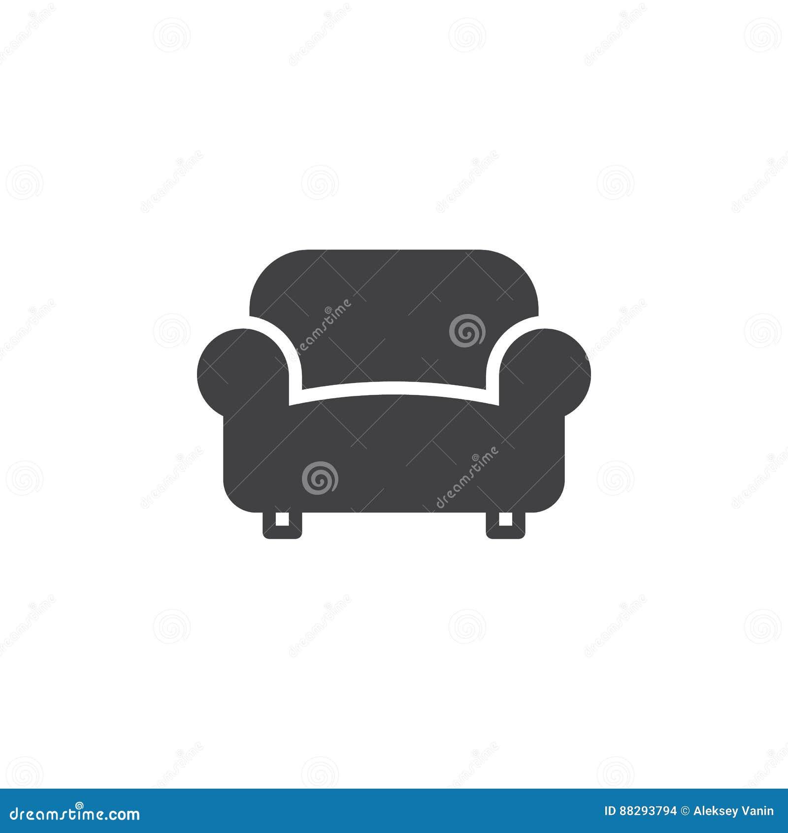 El sofá, vector del icono del sofá, llenó la muestra plana