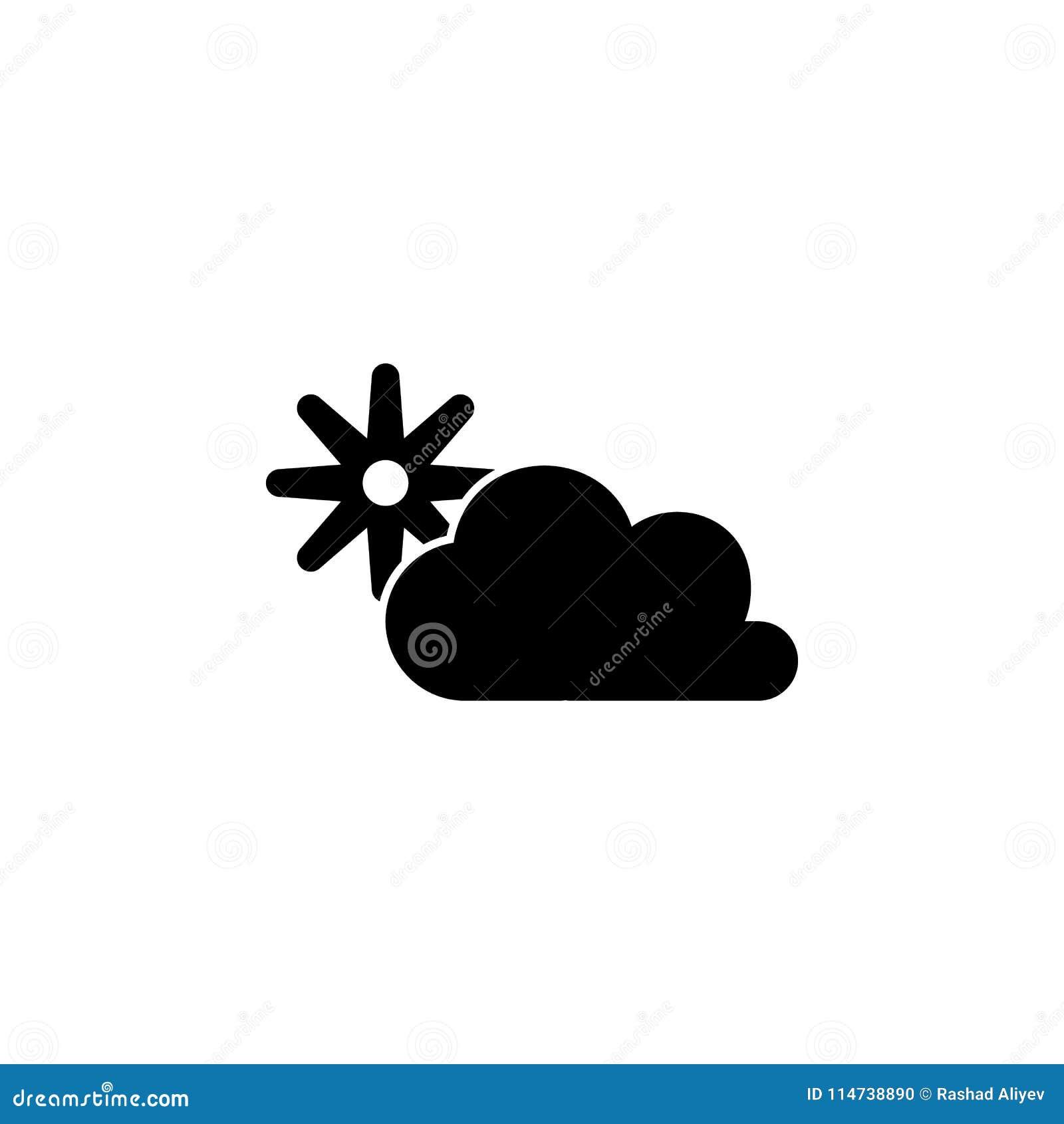 El sol detrás del icono de las nubes Elemento del icono minimalistic para los apps móviles del concepto y del web Muestras e icon