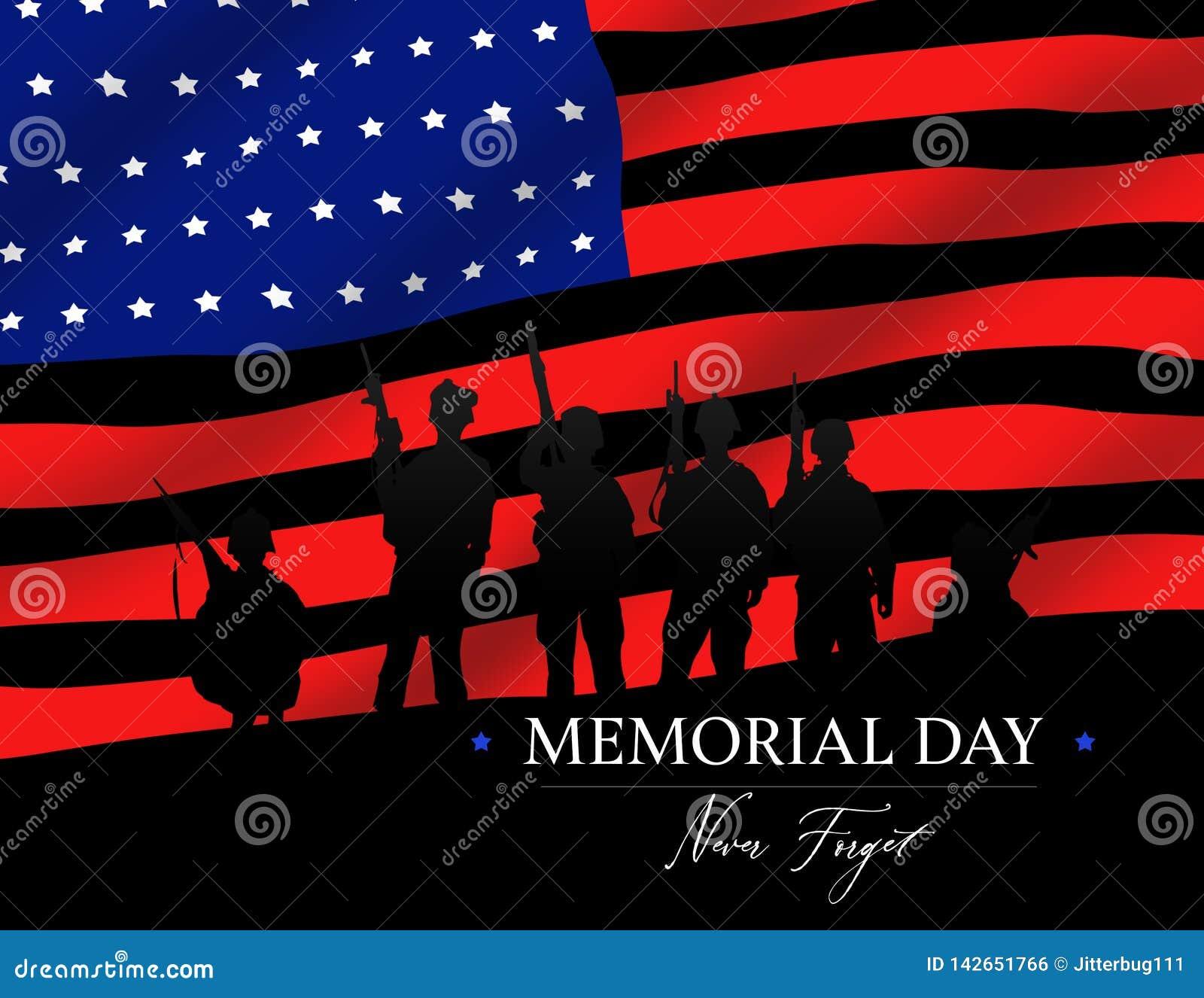El soldado Memorial Day Never de la bandera americana olvida
