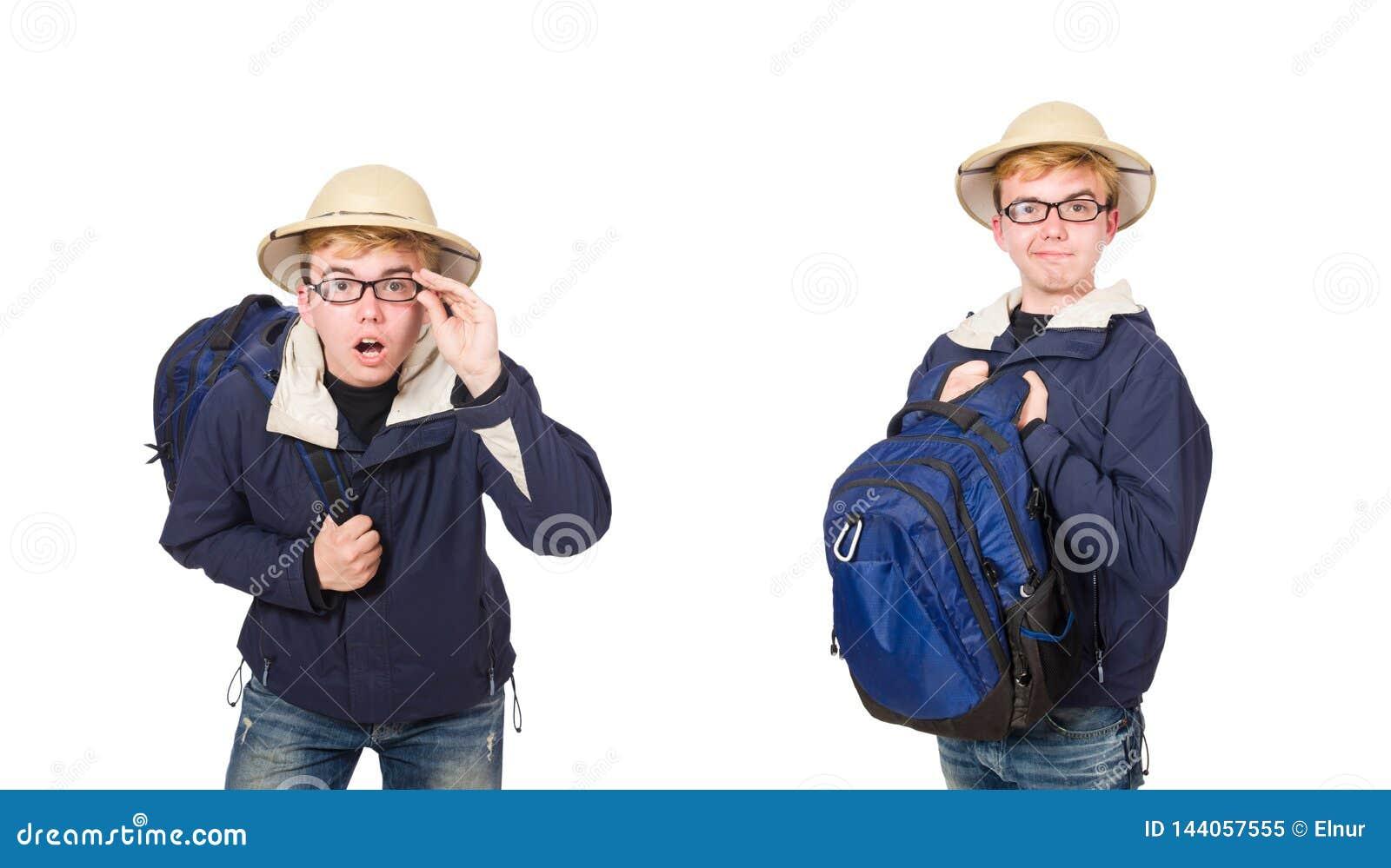 El sombrero del safari del estudiante que lleva divertido