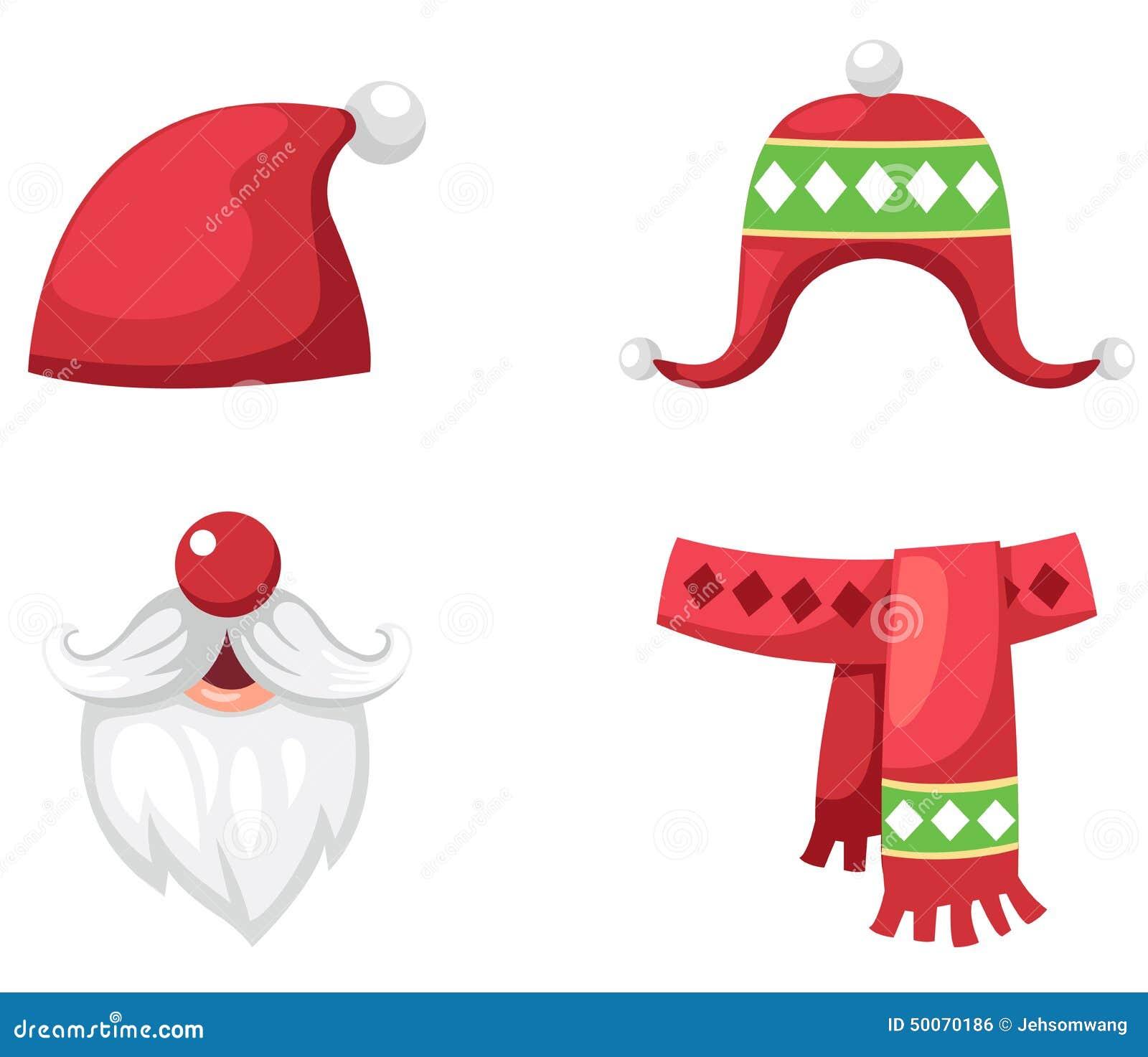 El sombrero, la bufanda y el sombrero rojos determinados de Papá Noel de la Navidad
