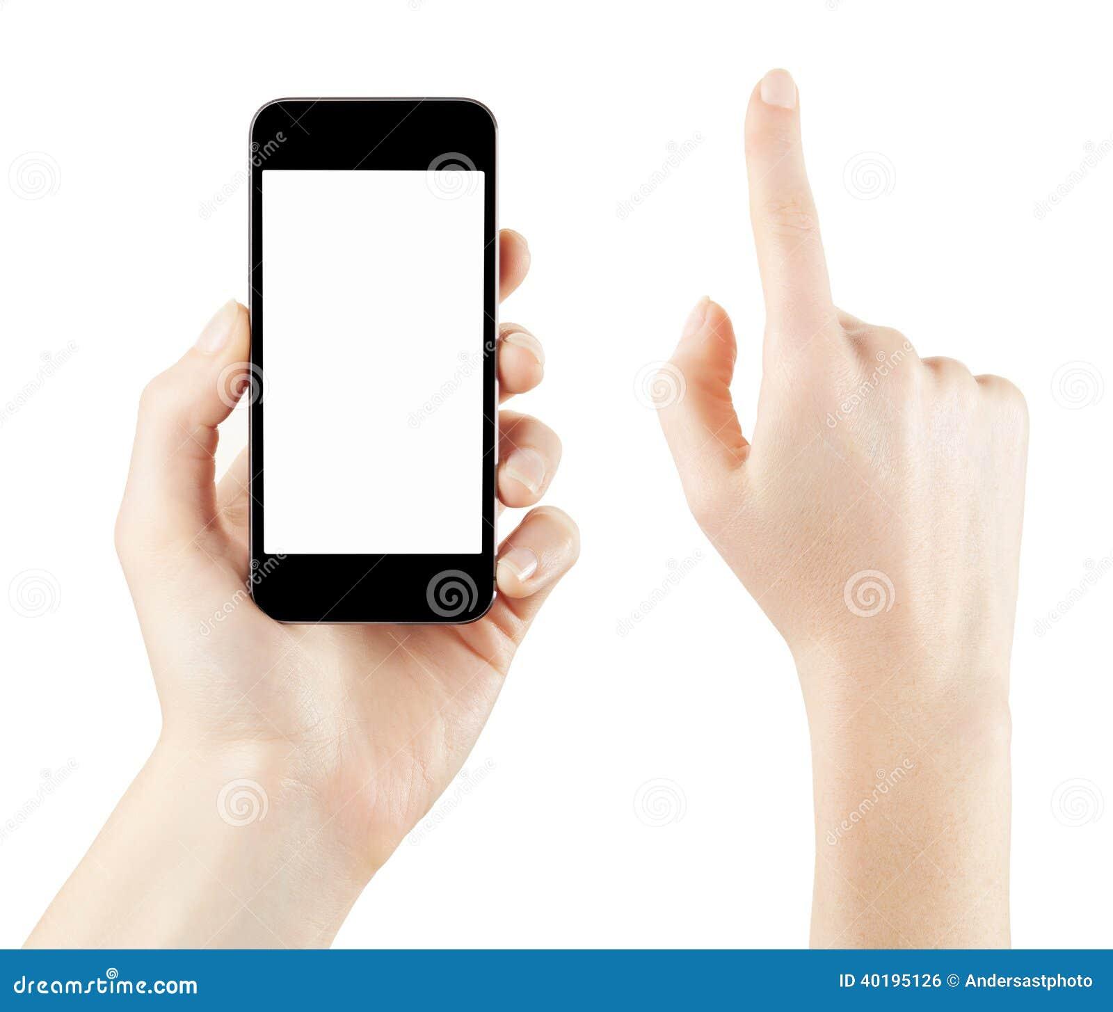 El sostenerse de la mano de la mujer y smartphone conmovedor