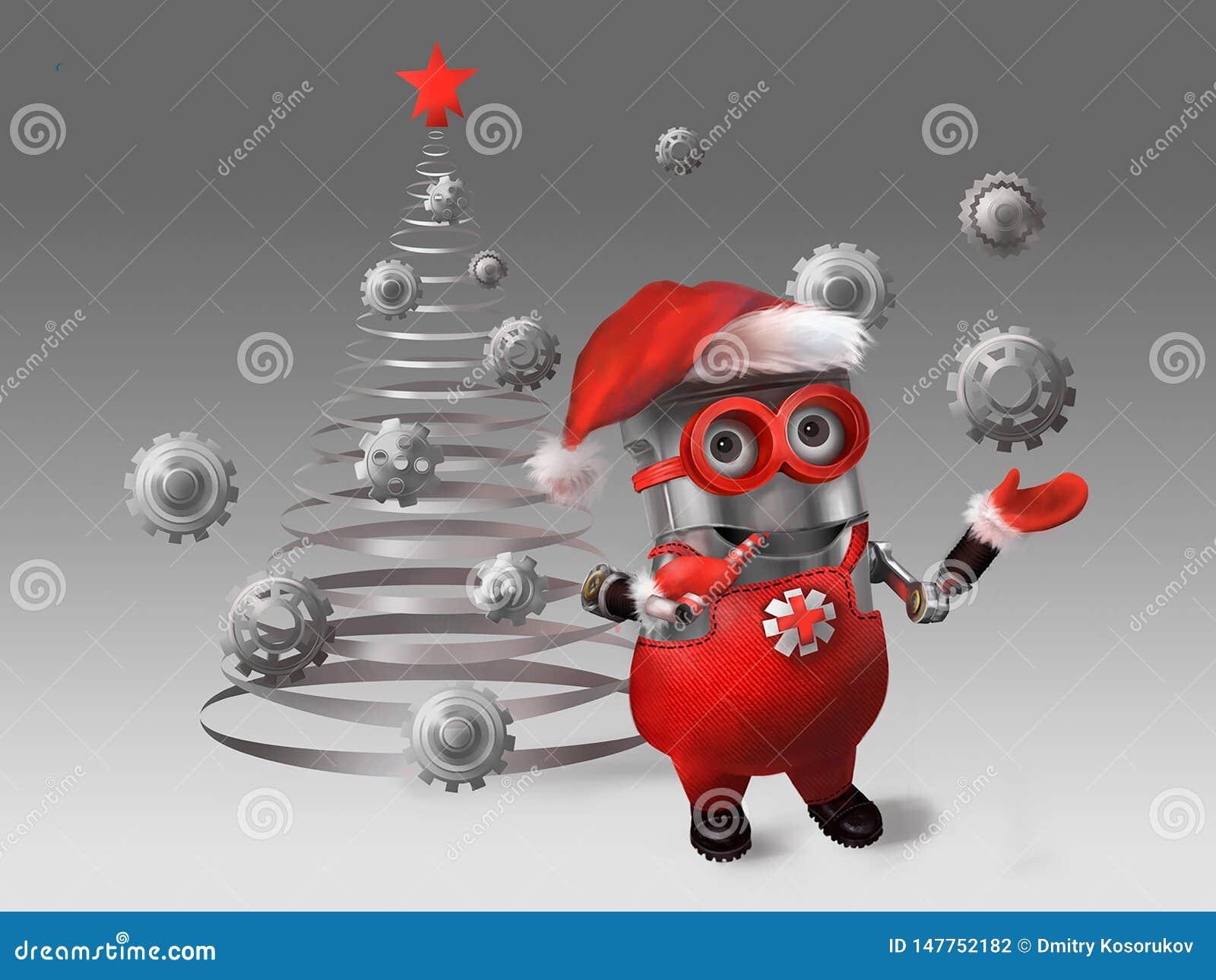 El subordinado viste para arriba el árbol de navidad